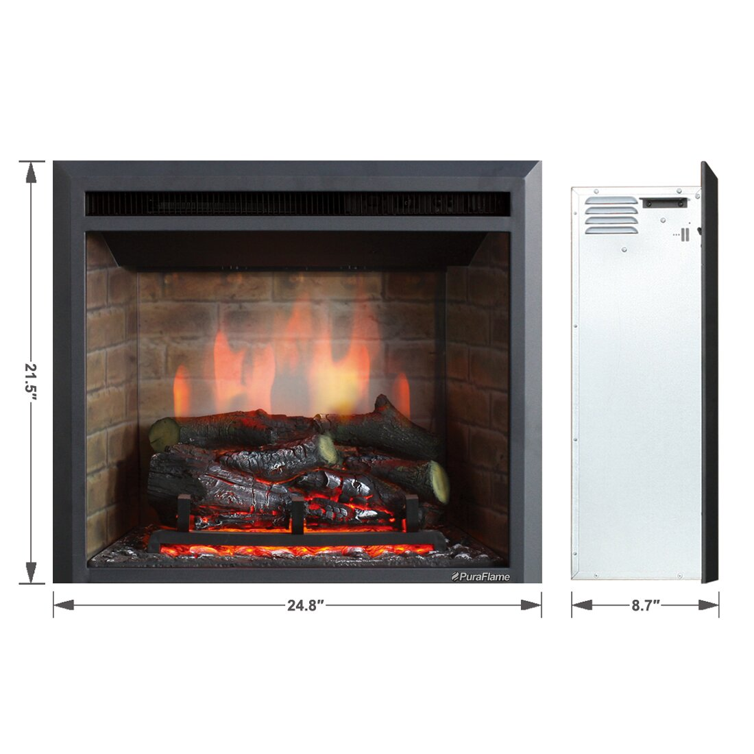 Puraflame 33 Black 750 1500w Western Wall Mount Electric Fireplace Insert Reviews Wayfair