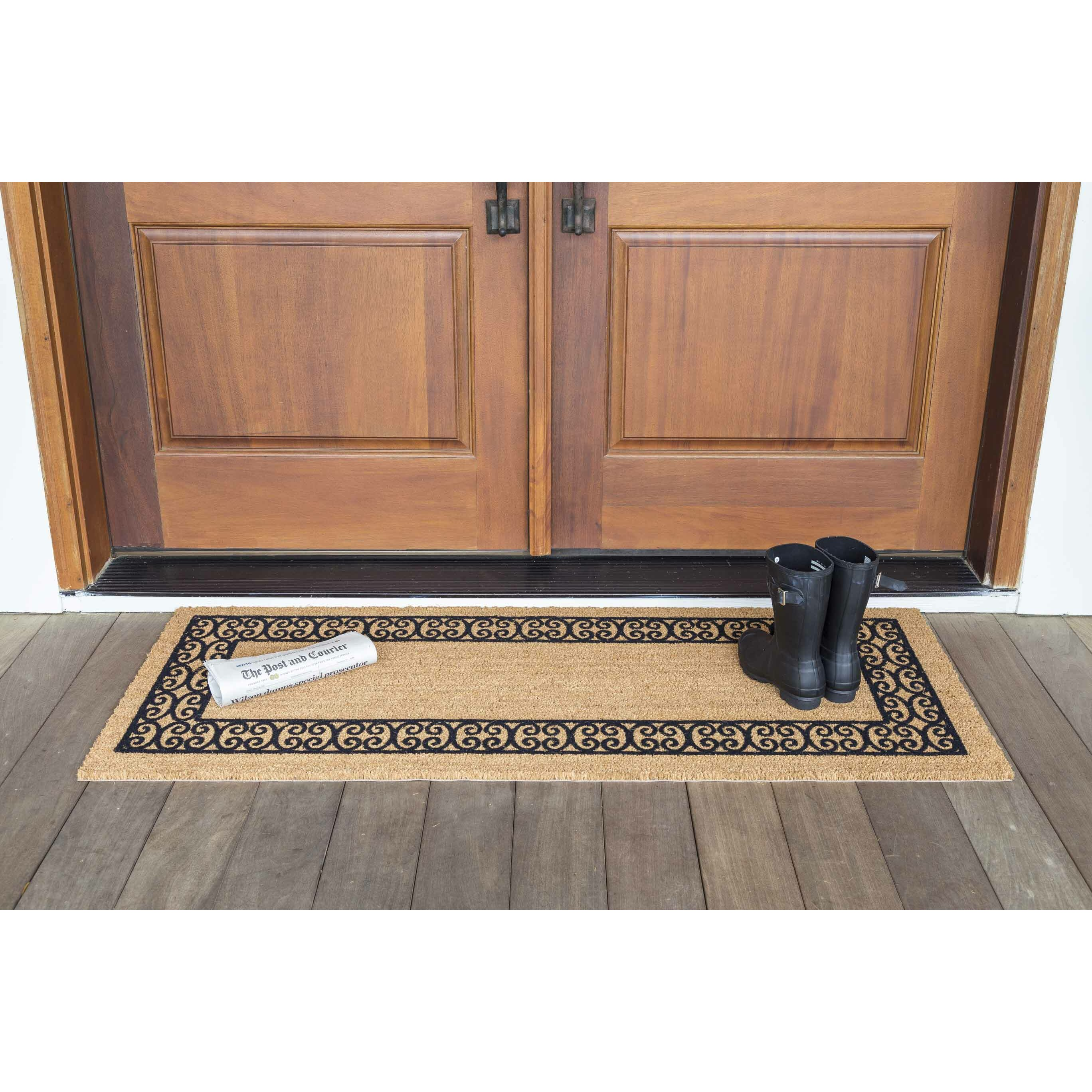 us cocoa mat decoir charleston border double door doormat reviews wayfair. Black Bedroom Furniture Sets. Home Design Ideas