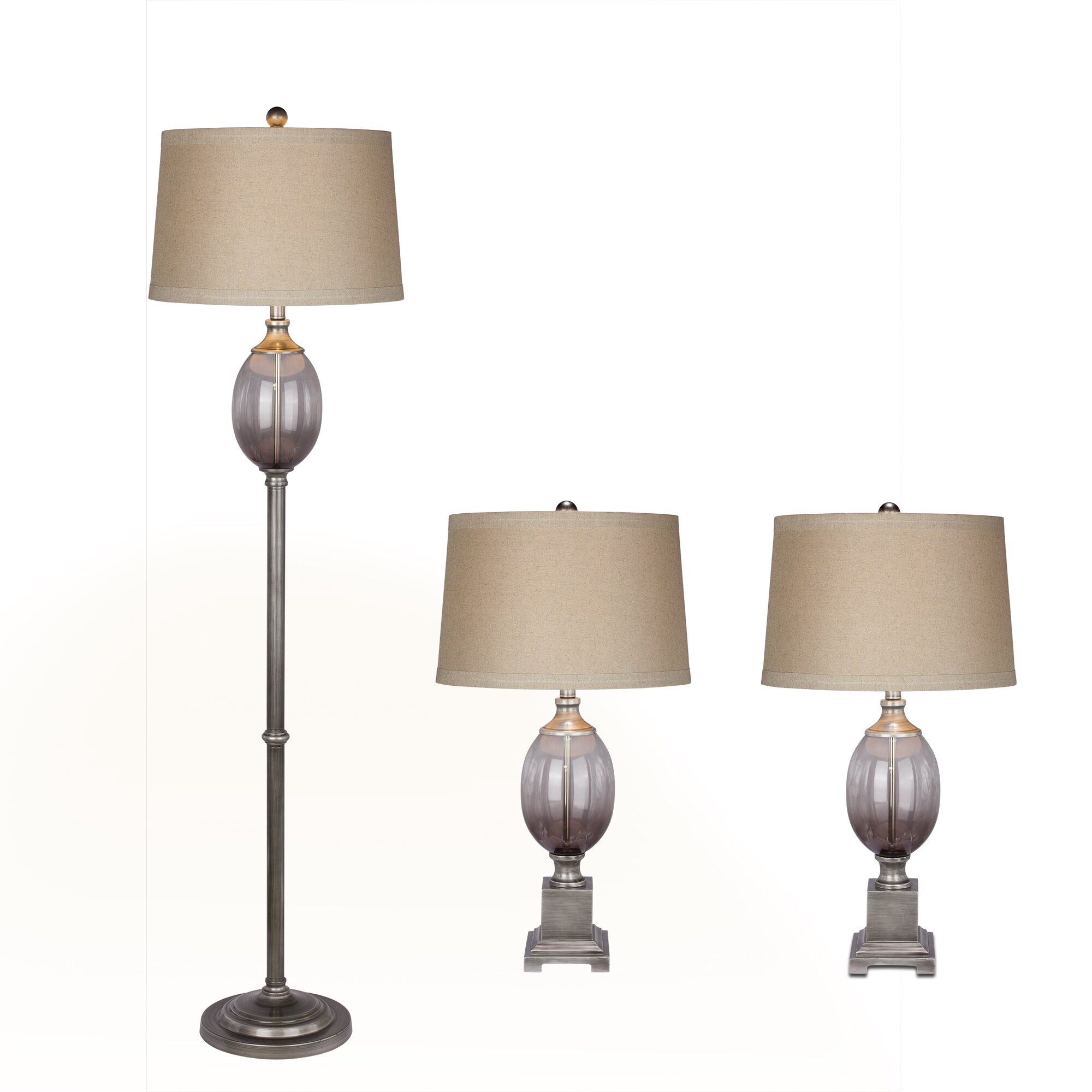 Fangio 3 piece table and floor lamp set reviews wayfair for Floor lamp with table