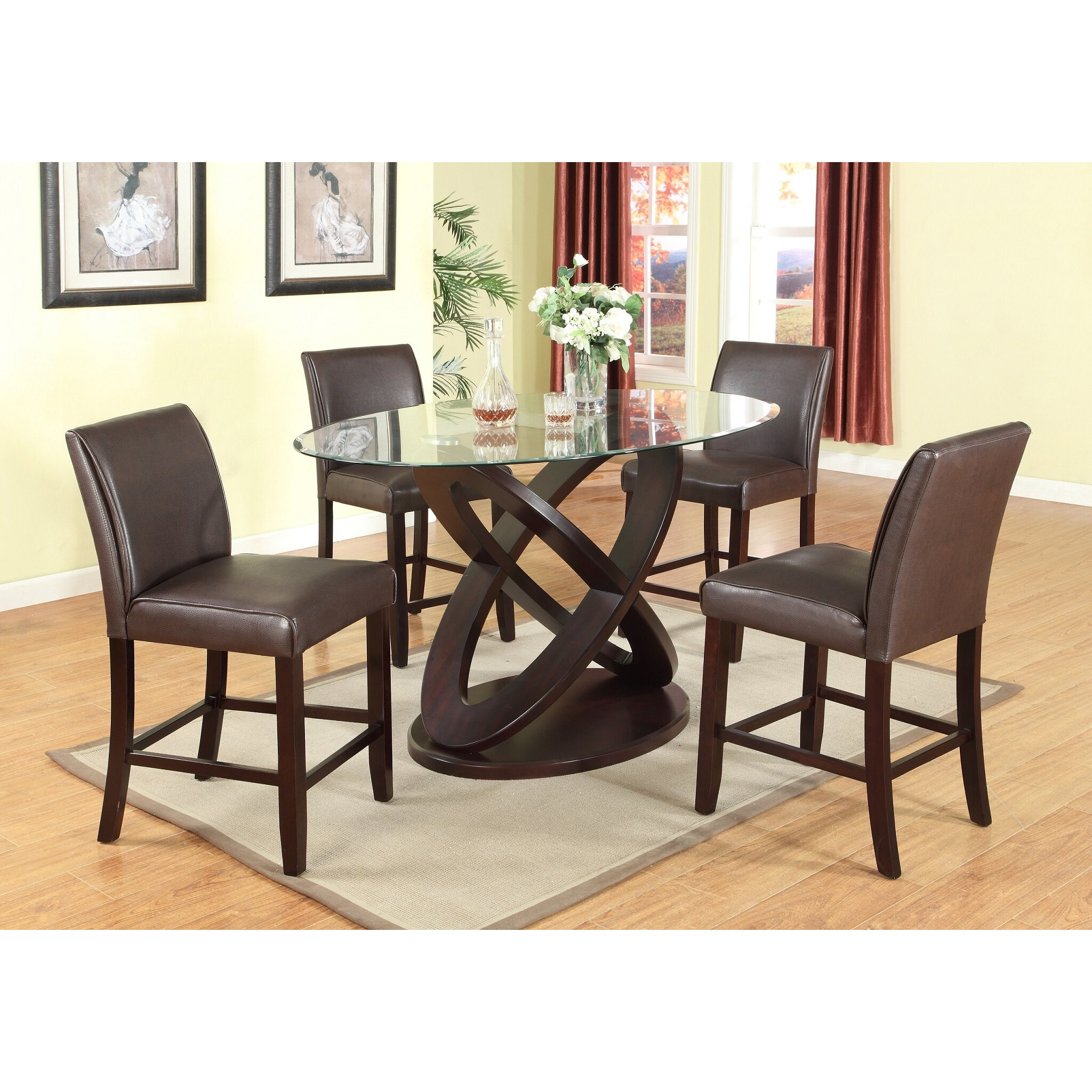 Roundhill Furniture Cicicol 5 Piece Counter Height Dining