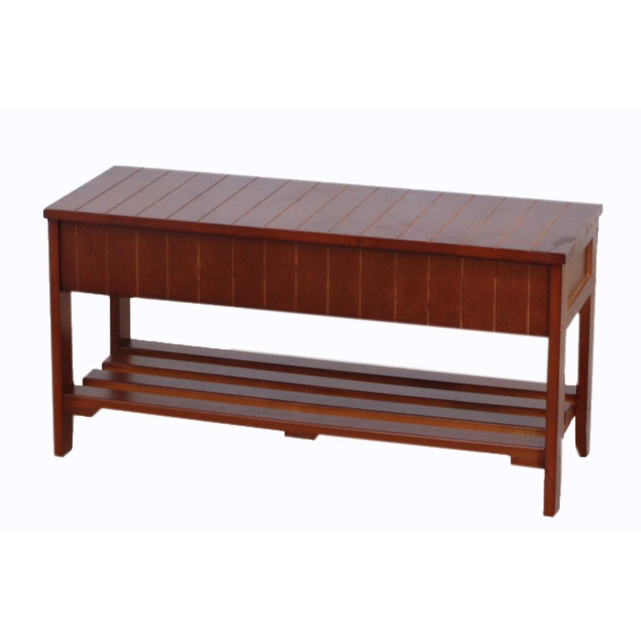 Roundhill Furniture Rennes Wood Storage Bench Reviews Wayfair