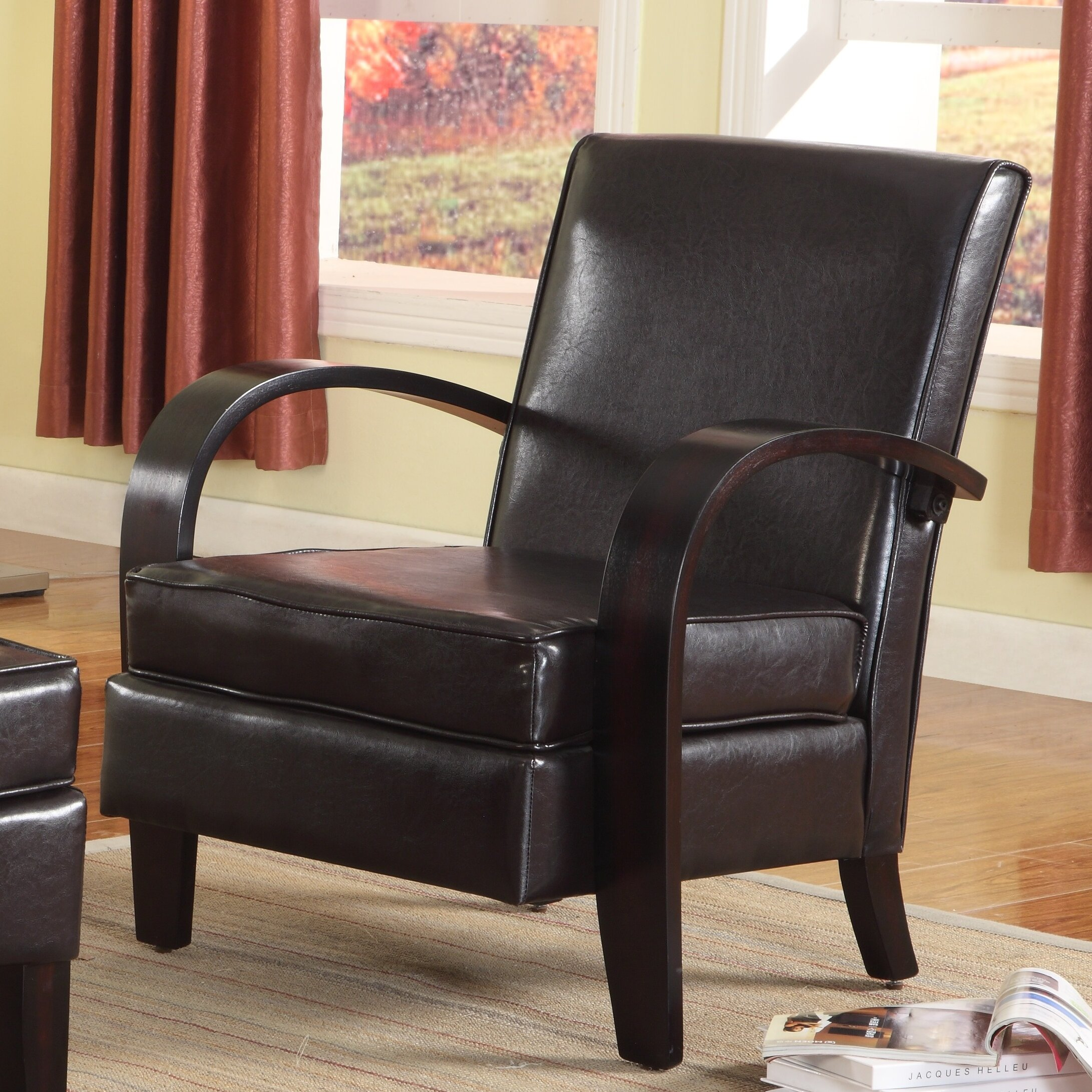 Roundhill Furniture Wonda Bonded Leather Arm Chair