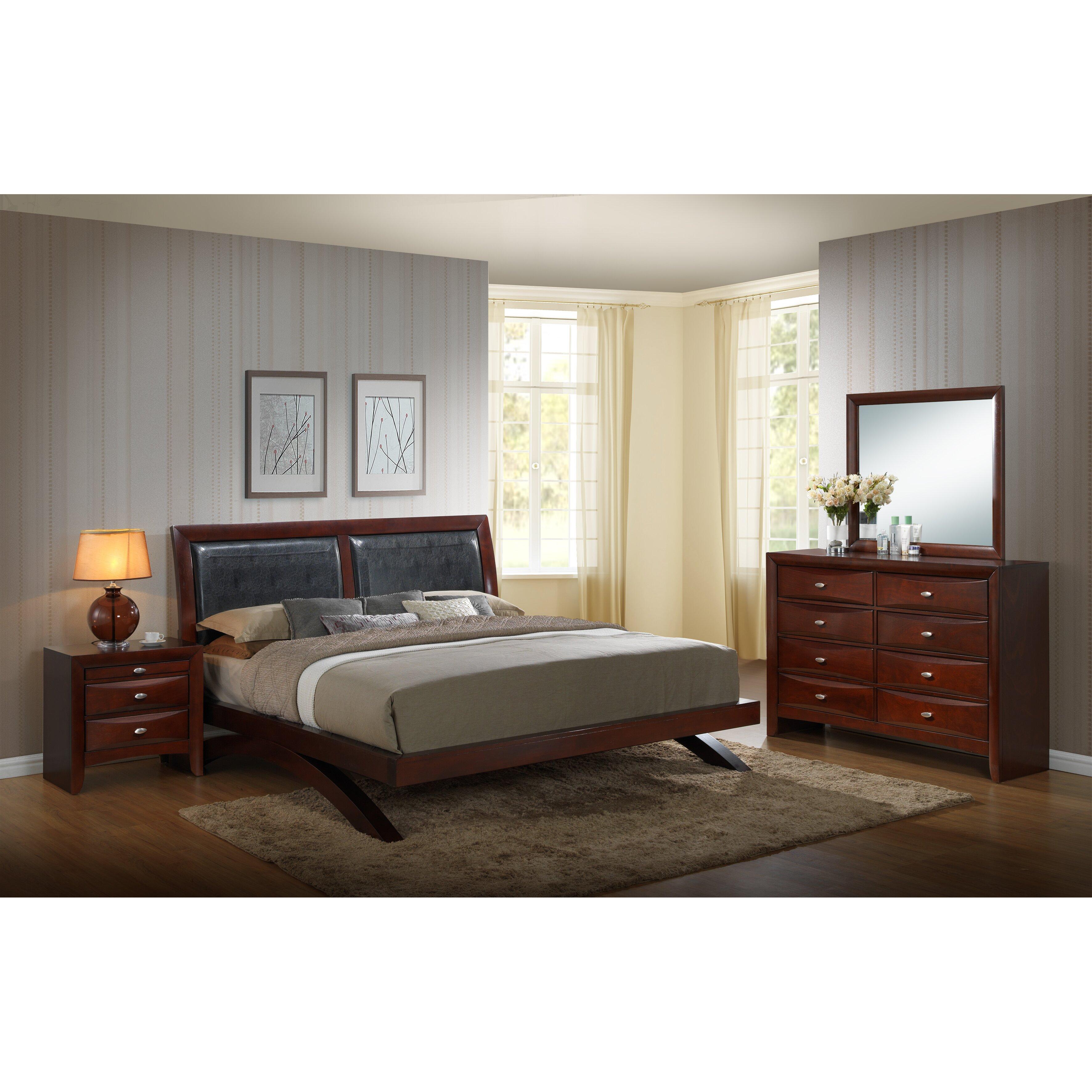 Roundhill Furniture Emily Panel 4 Piece Bedroom Set