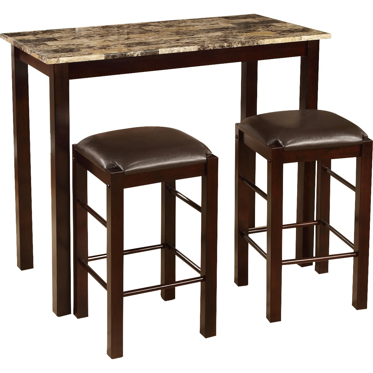 Roundhill furniture brando 3 piece counter height dining for Breakfast sets furniture