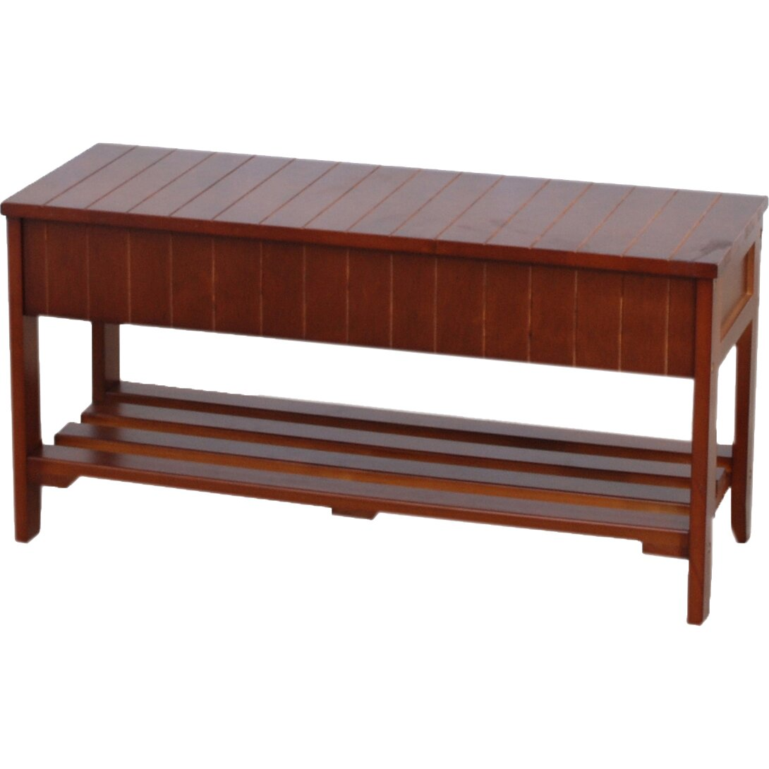 Roundhill furniture rennes wood storage bench reviews wayfair Furniture benches