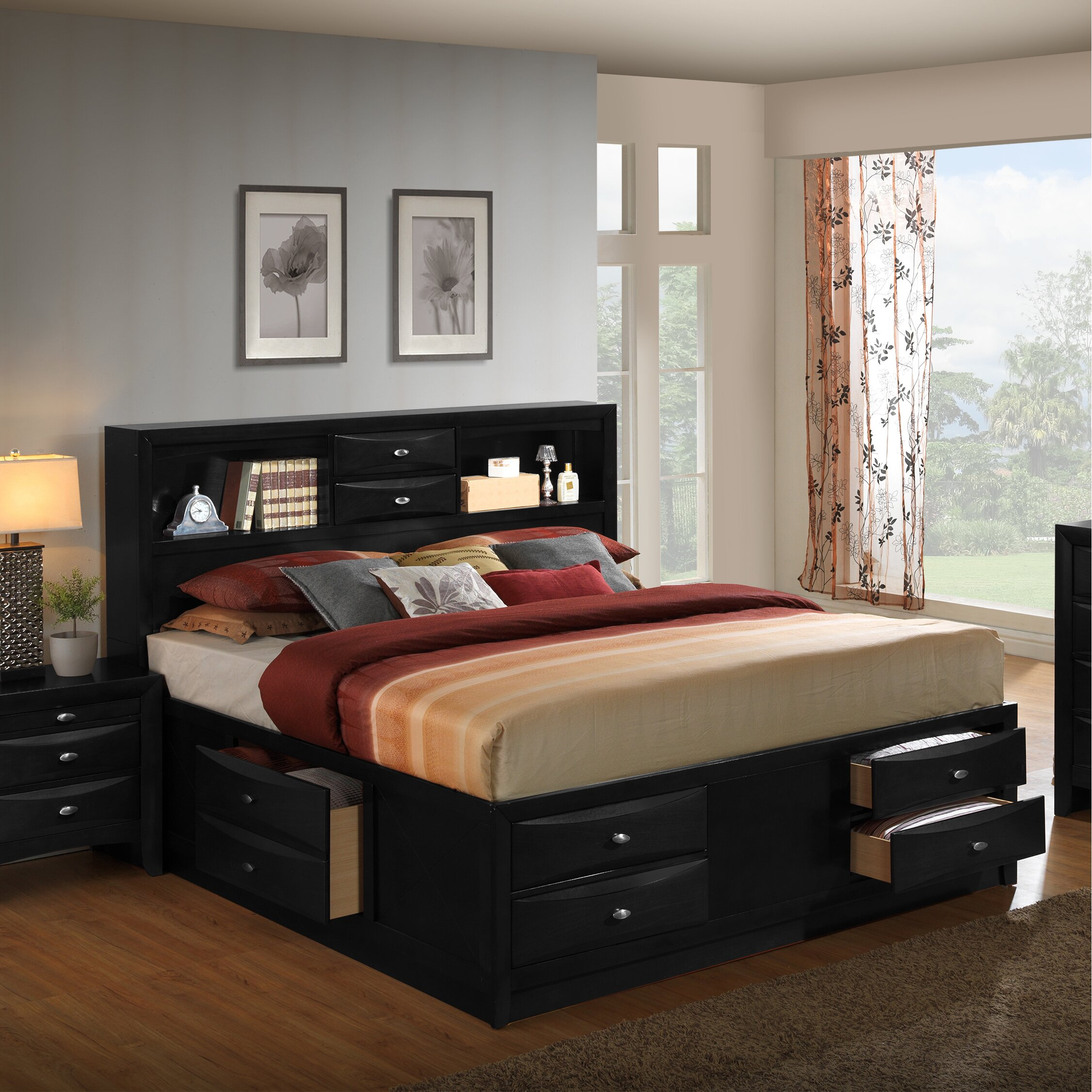 Roundhill furniture blemerey platform 6 piece bedroom set for Bedroom 6 piece set
