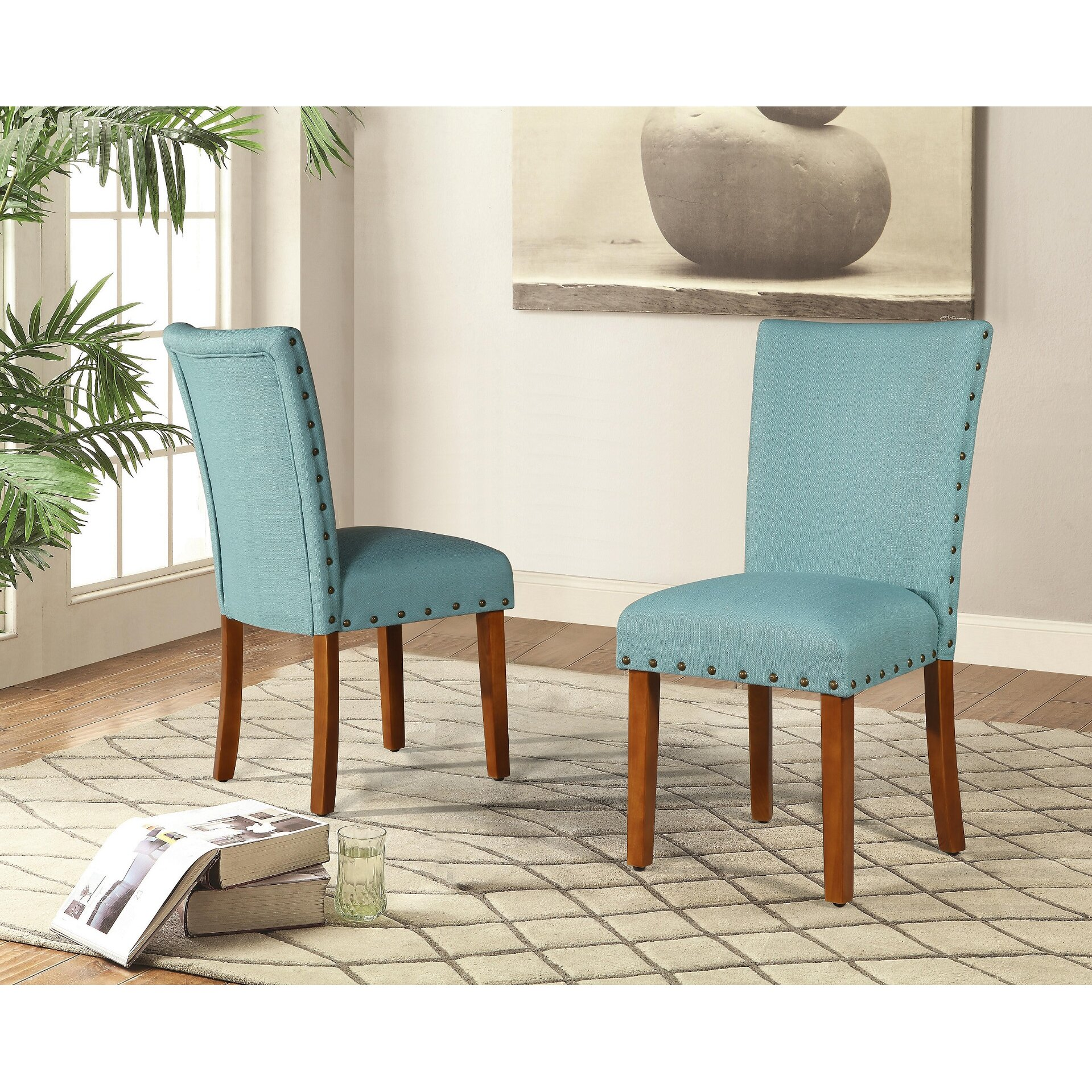 Roundhill Furniture Elliya Nailheads Parsons Chair