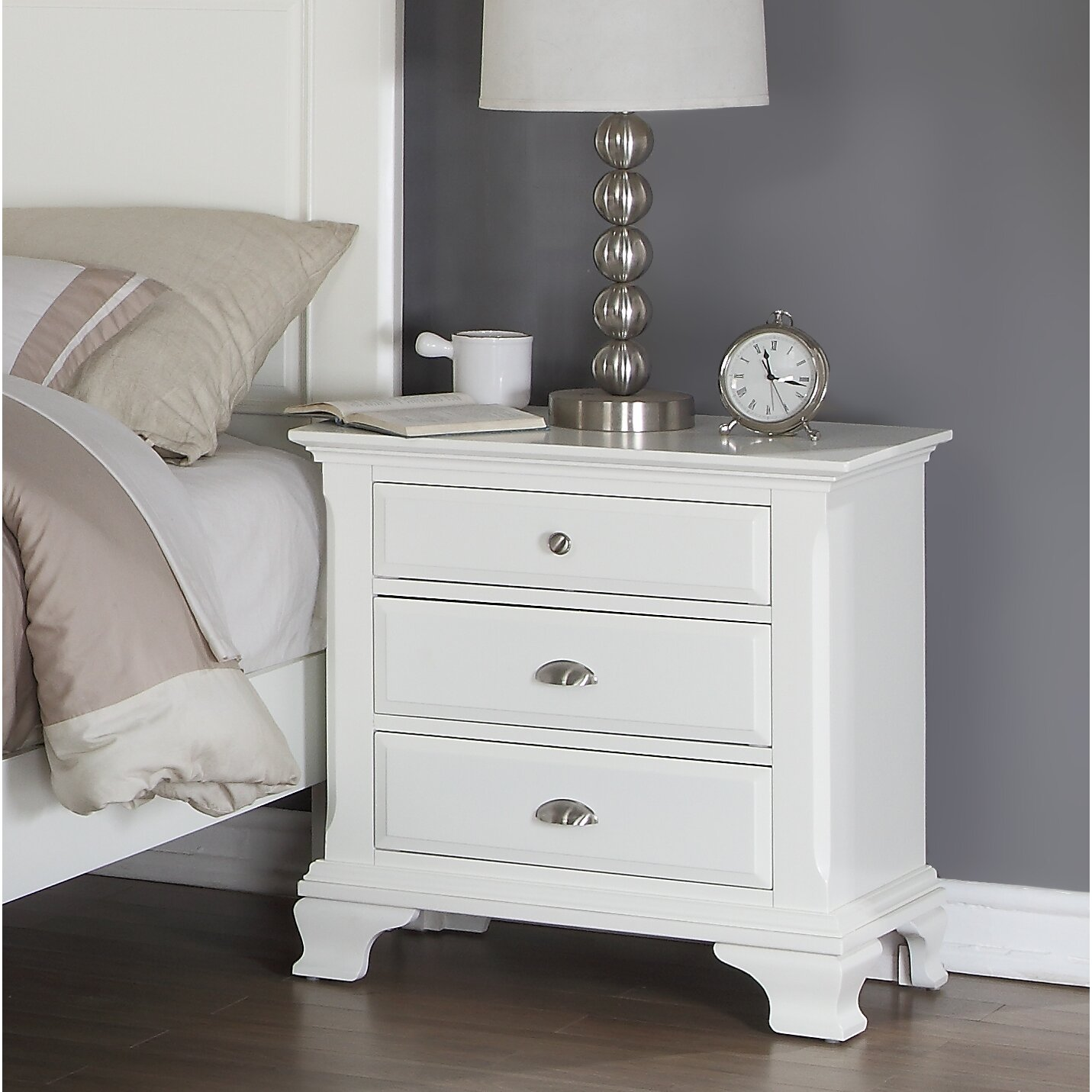 Roundhill furniture leveno panel 5 piece bedroom set - White and wood bedroom furniture ...
