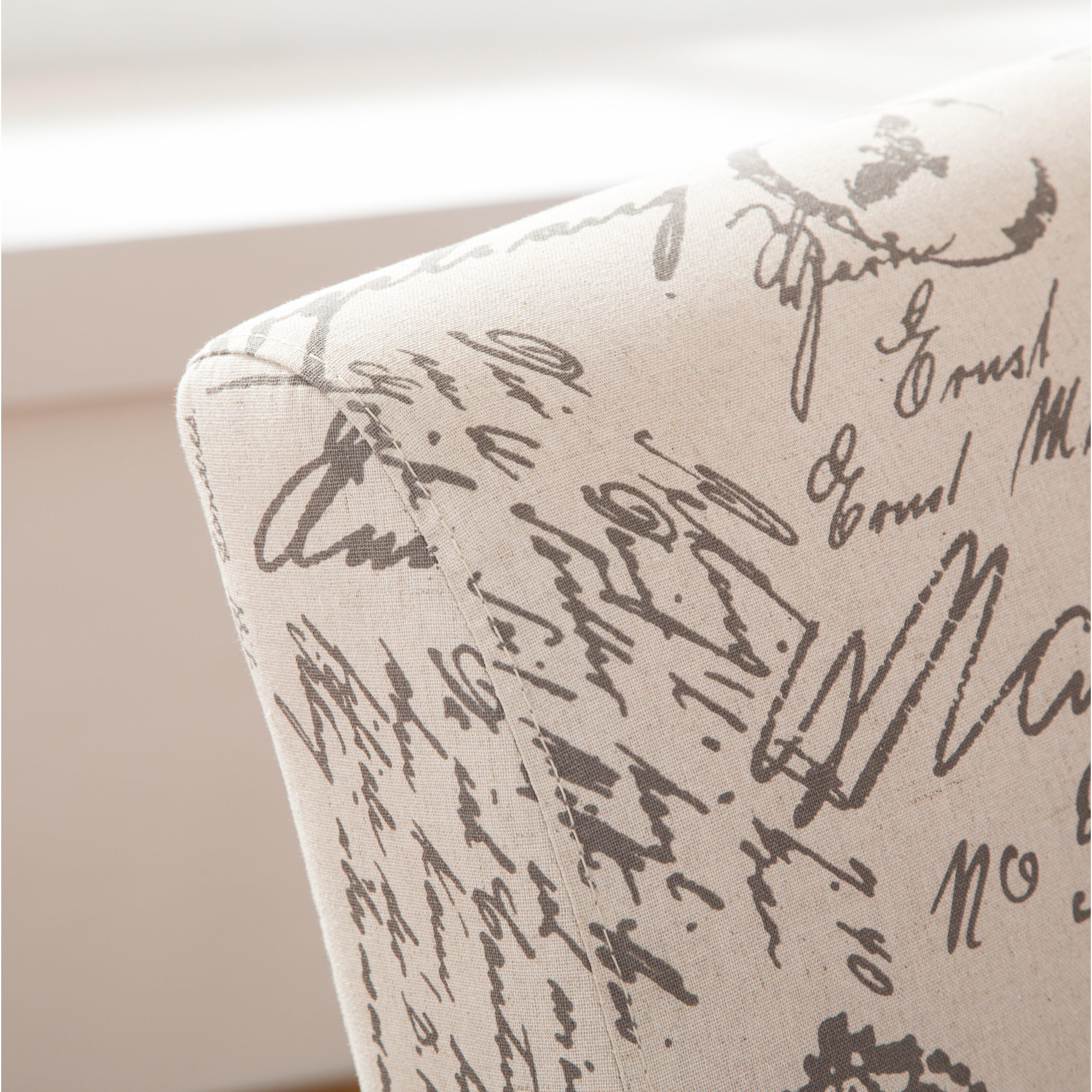 Roundhill Furniture Pisano English Letter Print Fabric