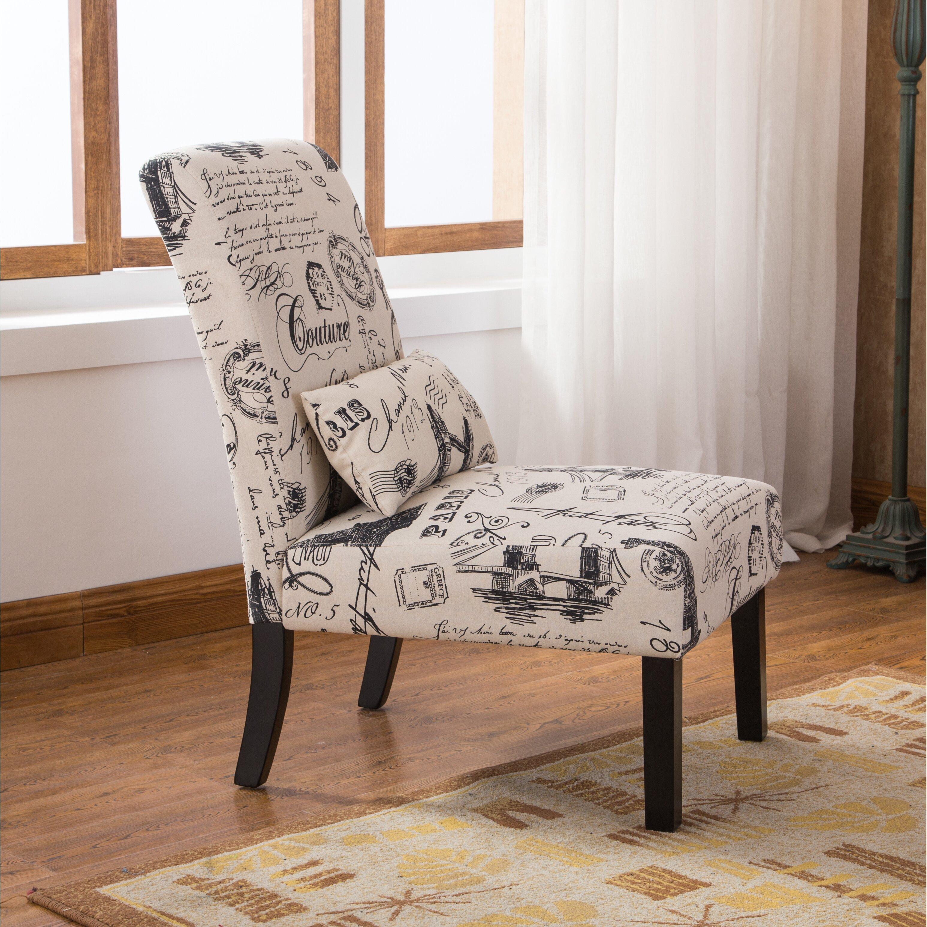 Roundhill Furniture Pisano Script Linen Print Fabric