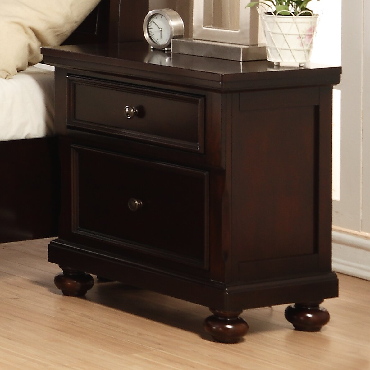 Roundhill Furniture Brishland 2 Drawer Nightstand