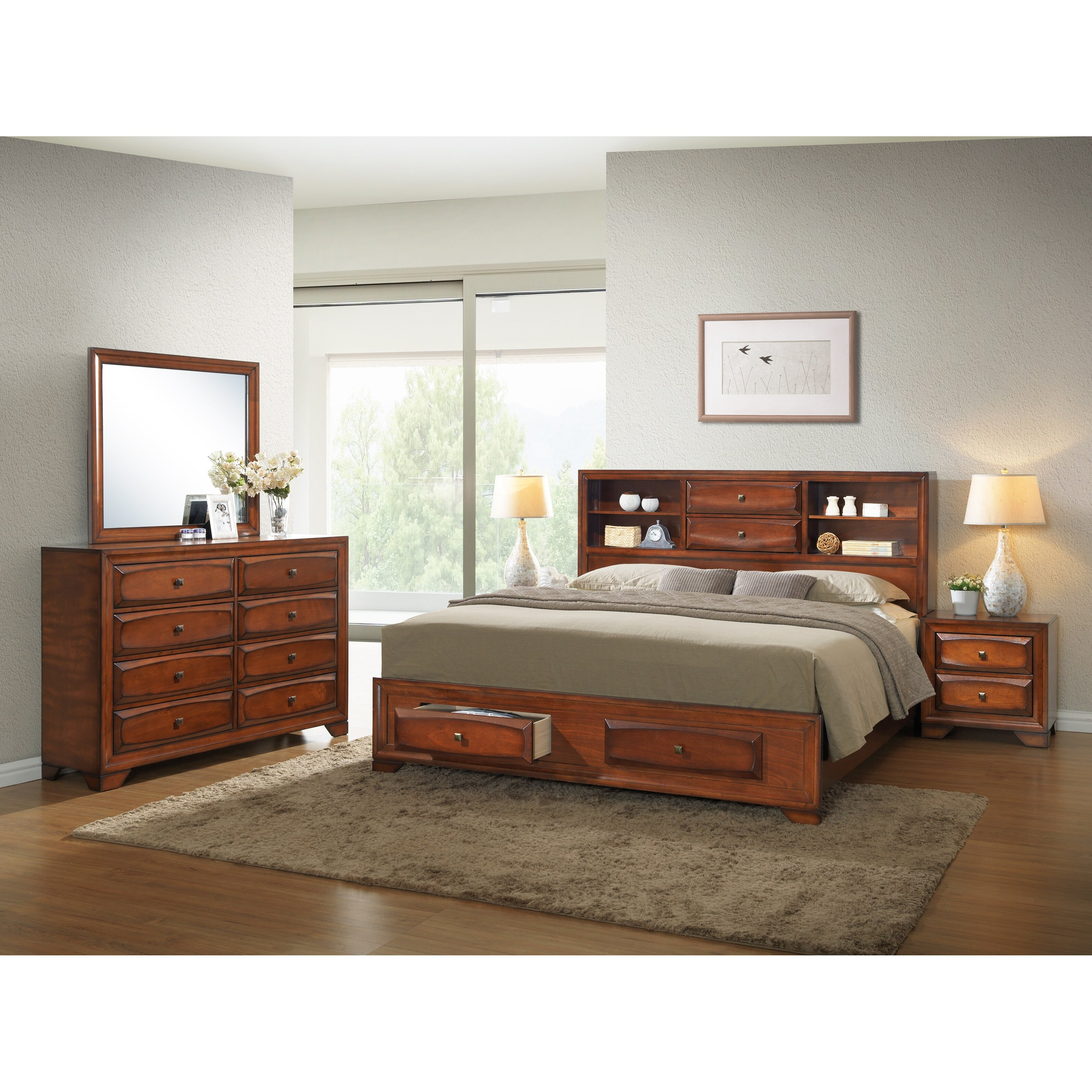 Roundhill Furniture Asger Queen Platform Customizable Bedroom Set Wayfair