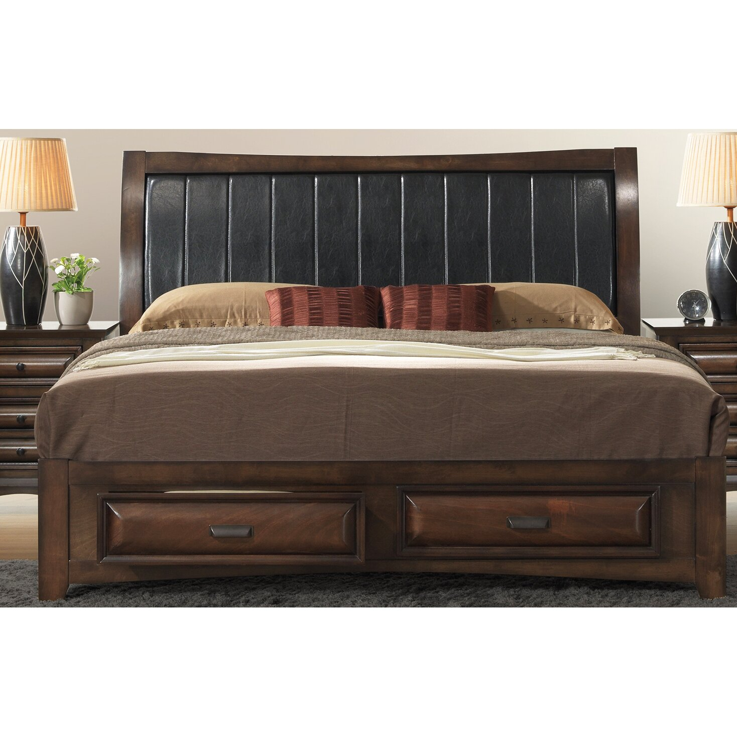 Roundhill Furniture Broval Panel 5 Piece Bedroom Set