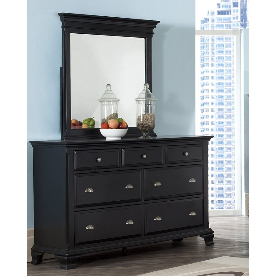 Roundhill furniture laveno 7 drawer dresser with mirror for Furniture 7 credit reviews