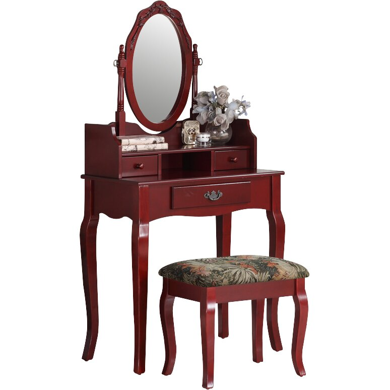 Roundhill furniture ribbon wood makeup vanity set with for Vanity mirror sets furniture