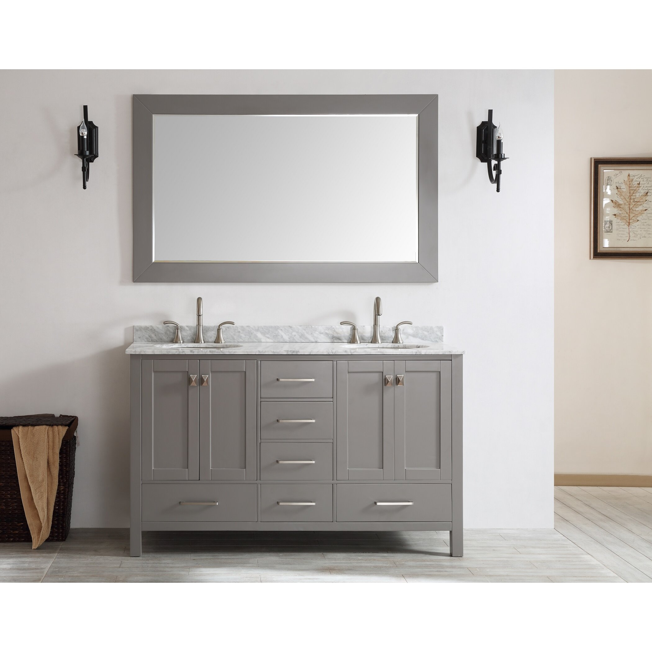 double countertop bathroom sinks with quot wayfair gallery square carrera aberdeen transitional white gray images eviva newcastle and vanity grey