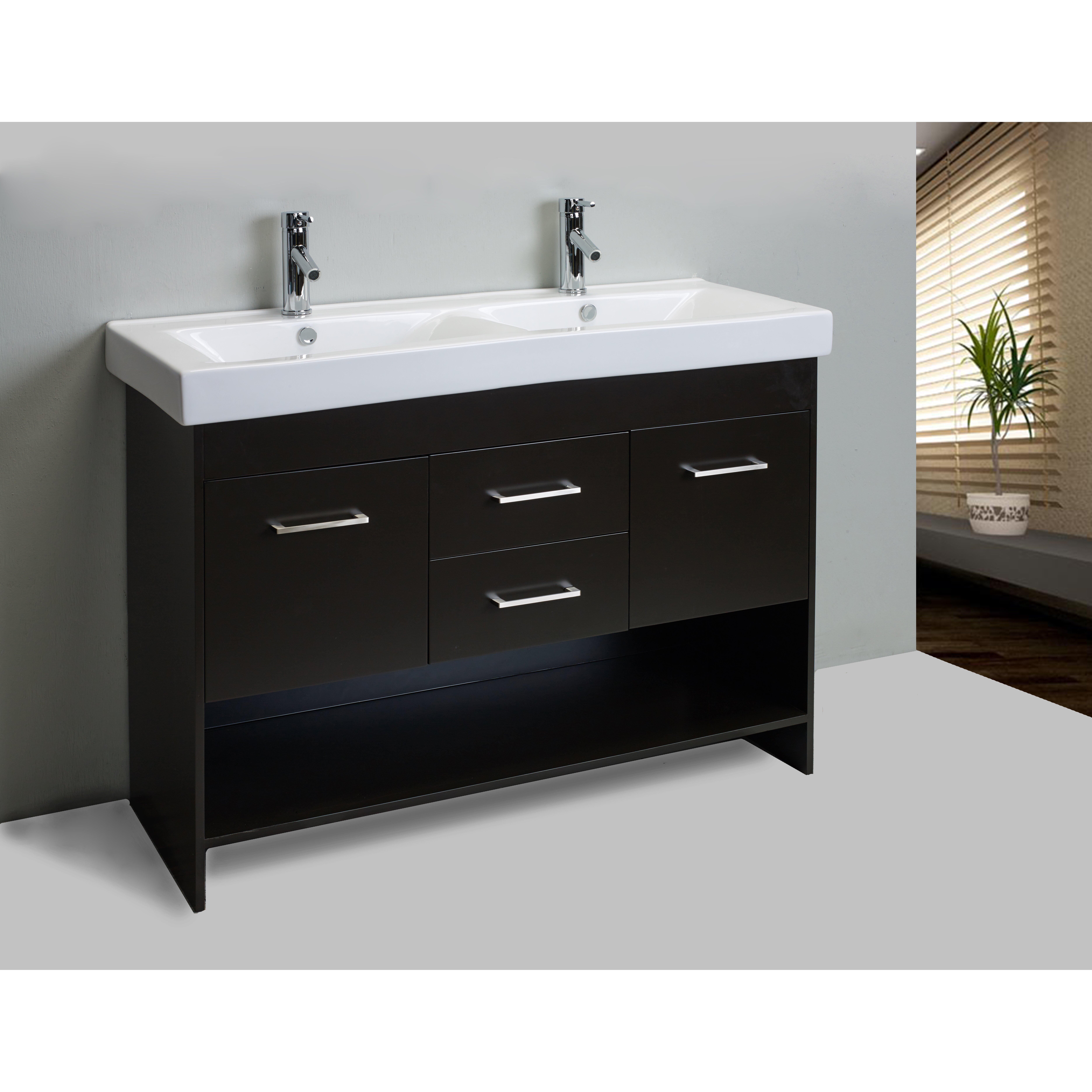 Eviva gloria 48 espresso double bathroom vanity set with - Espresso double sink bathroom vanity ...