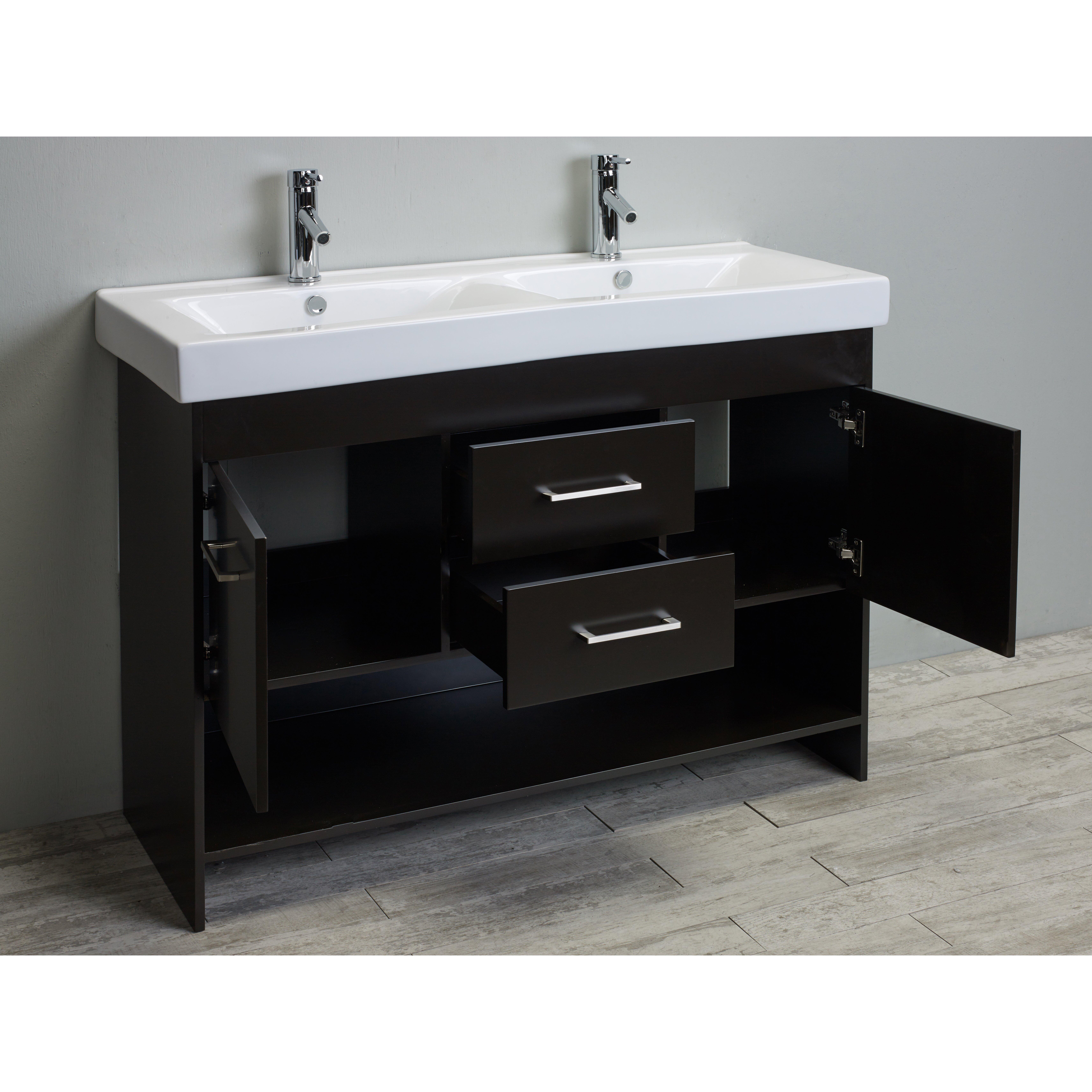 """Eviva Gloria 48"""" Espresso Double Bathroom Vanity Set with ..."""