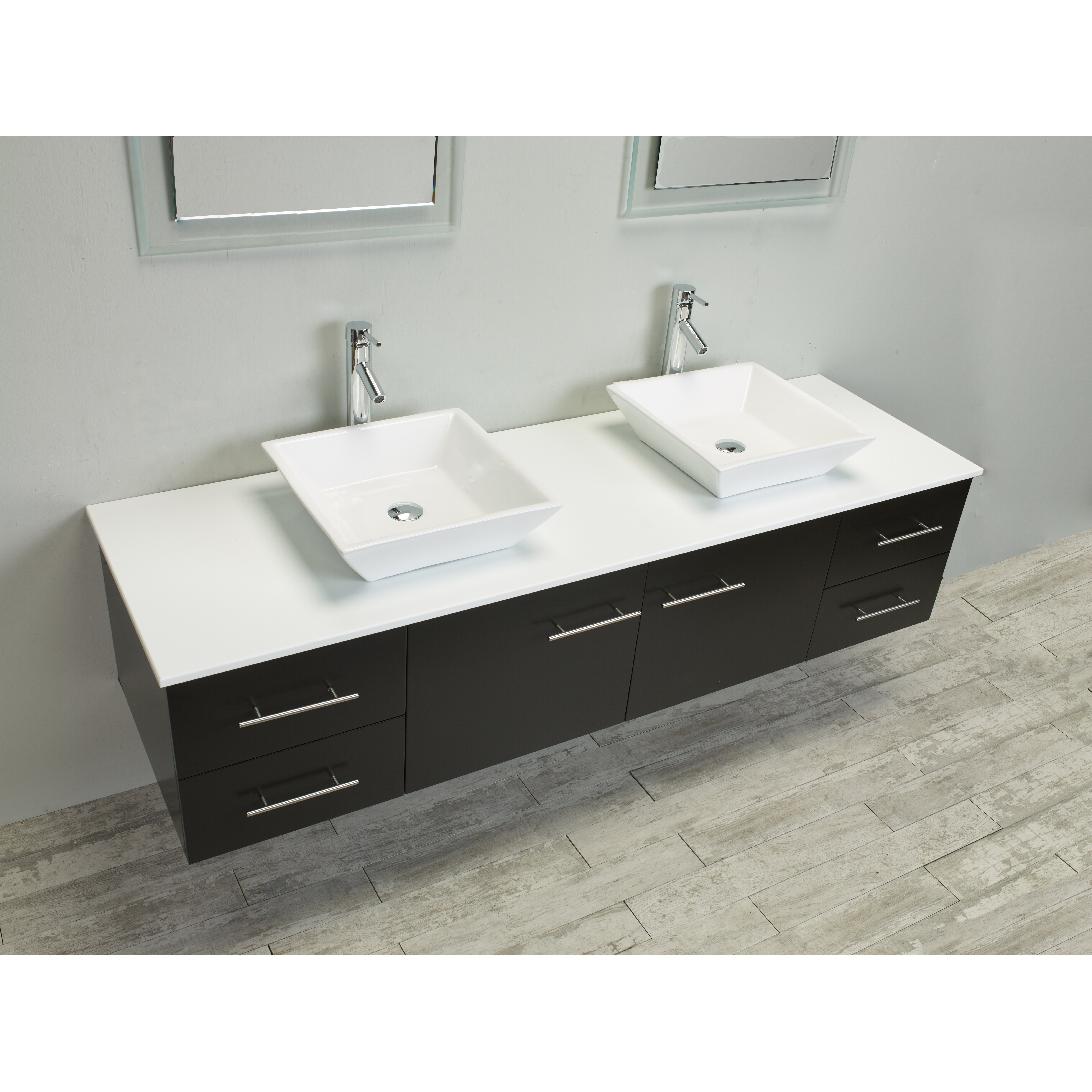 Eviva Totti Wave 72 Double Sink Espresso Modern Bathroom Vanity Set W