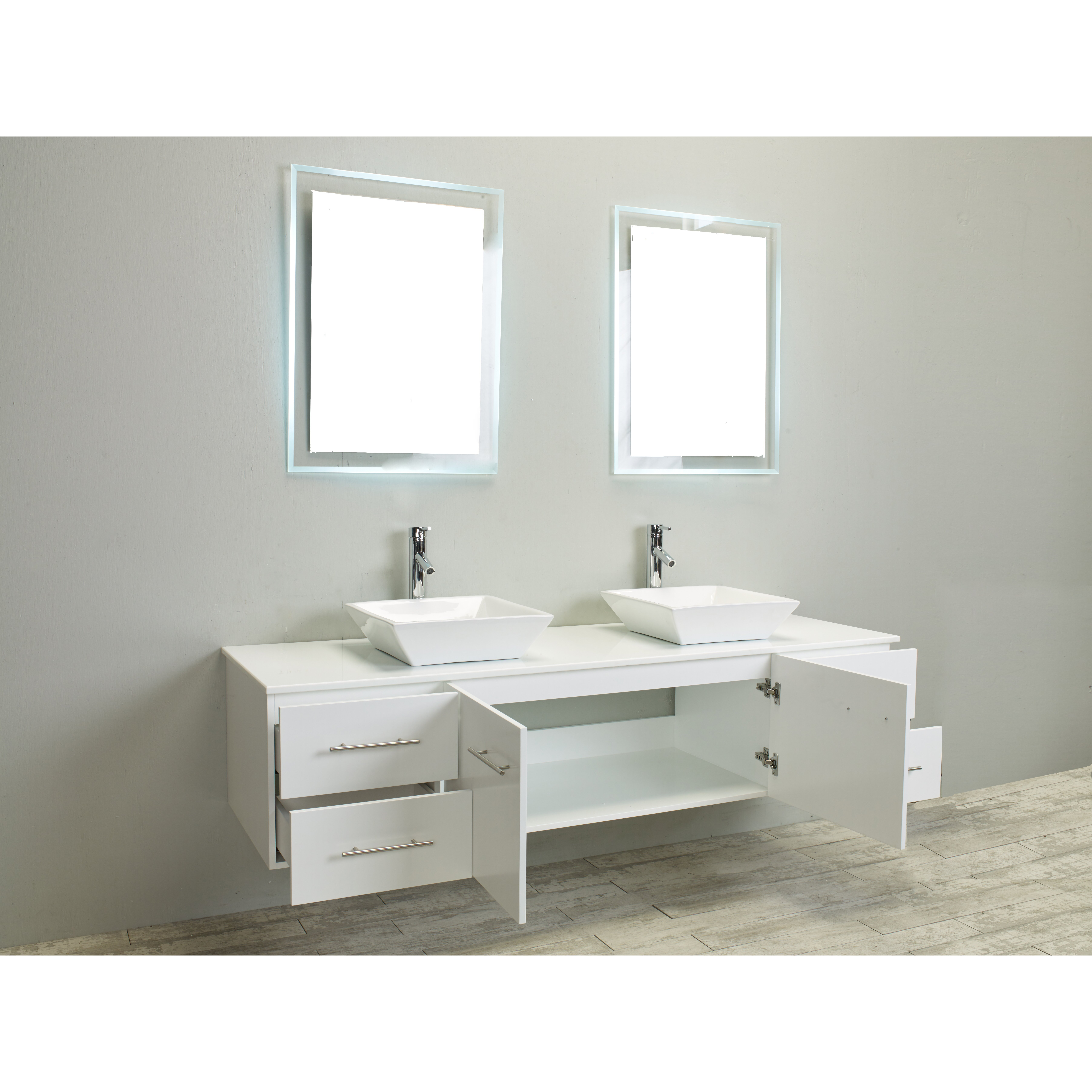 Eviva totti wave 72 inch white modern double sink bathroom for Bathroom sinks and vanities