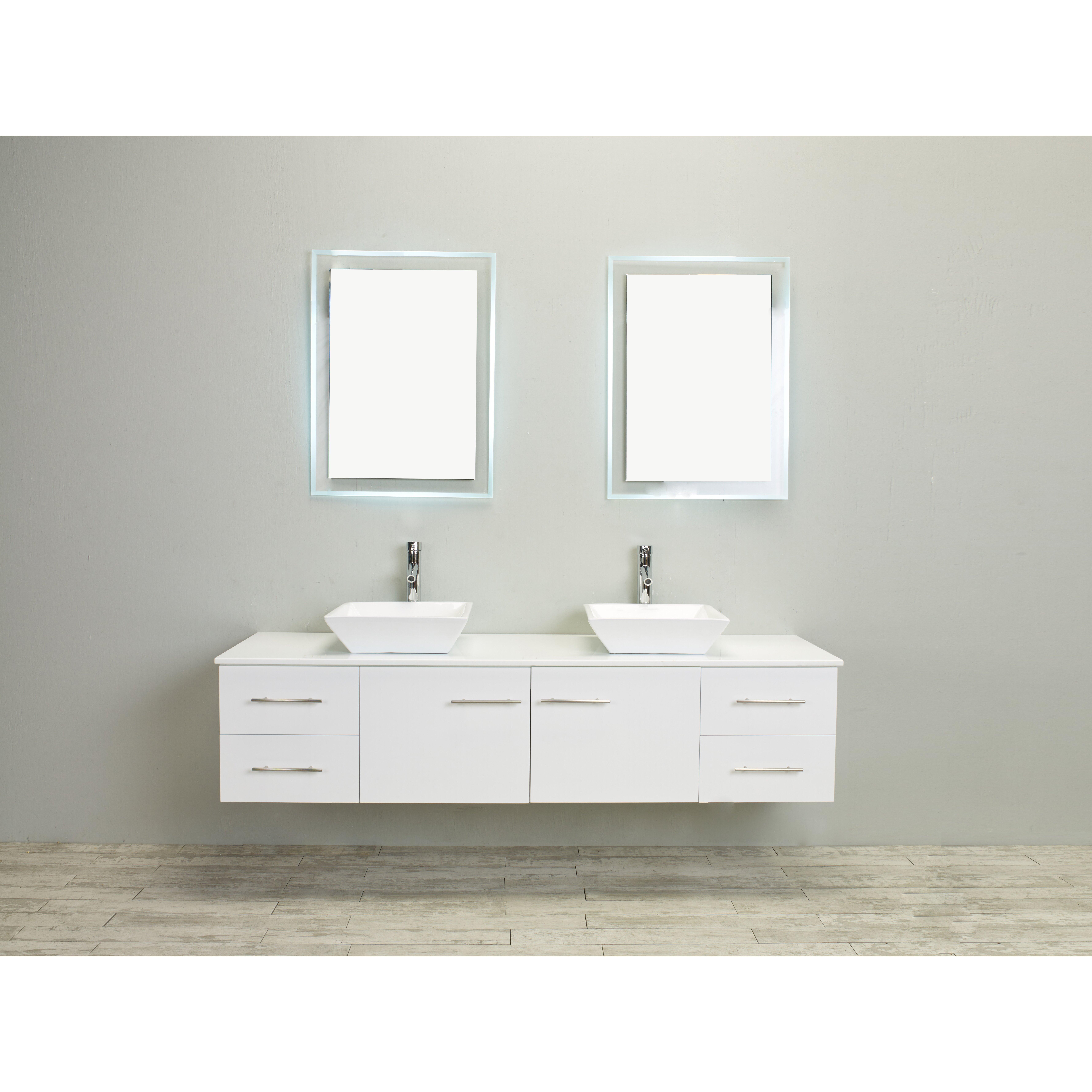 Eviva Totti Wave 72-Inch White Modern Double Sink Bathroom