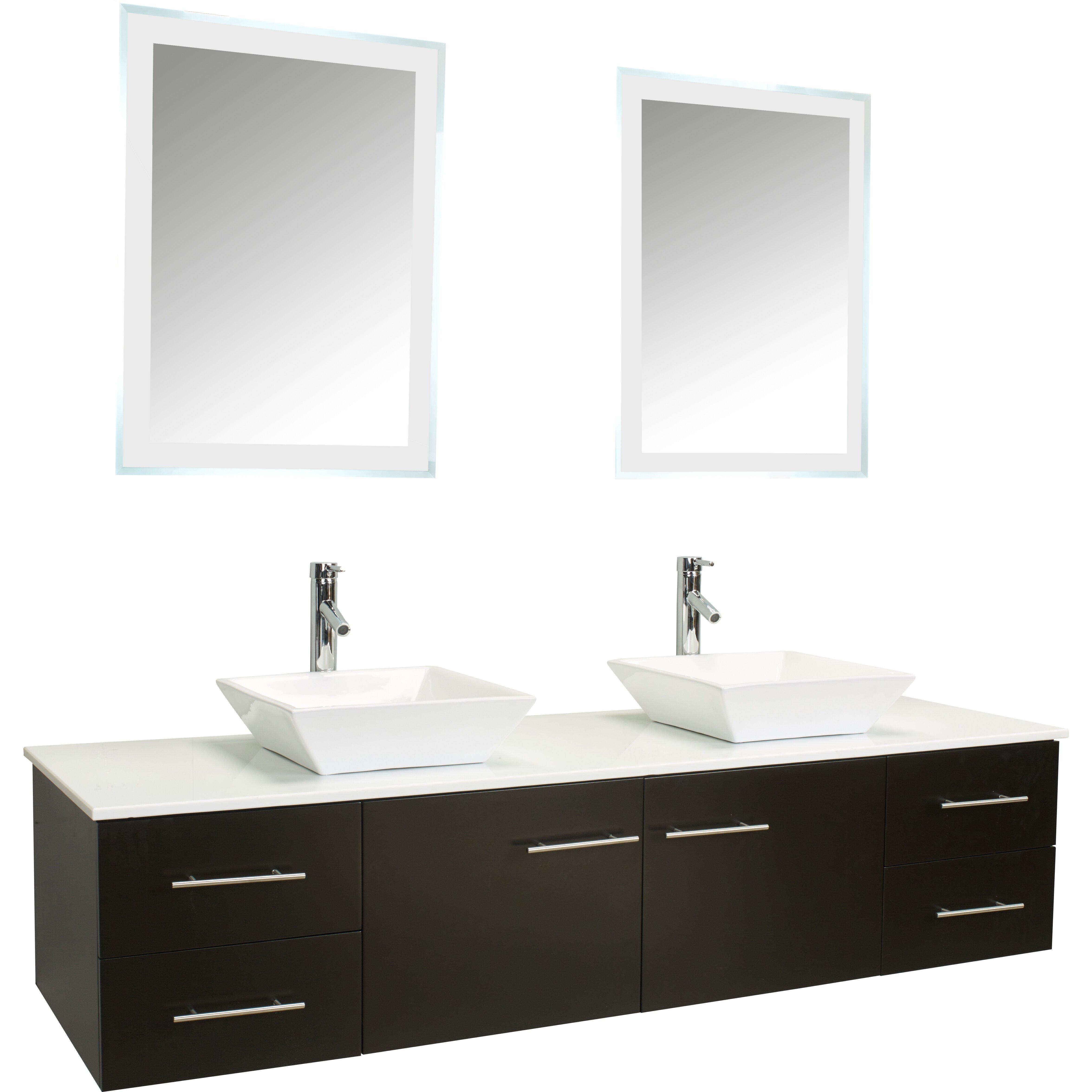 Eviva totti wave 60 double sink espresso modern bathroom for Modern bathroom sets