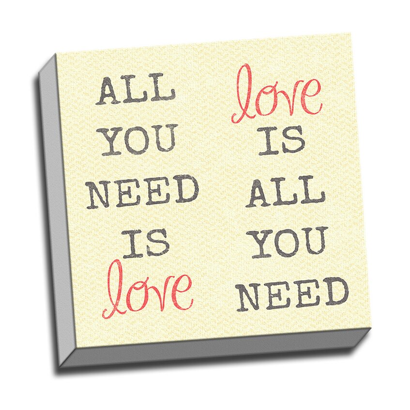 Wall Decor All You Need Is Love : Picture it on canvas wood art all you need is love quote
