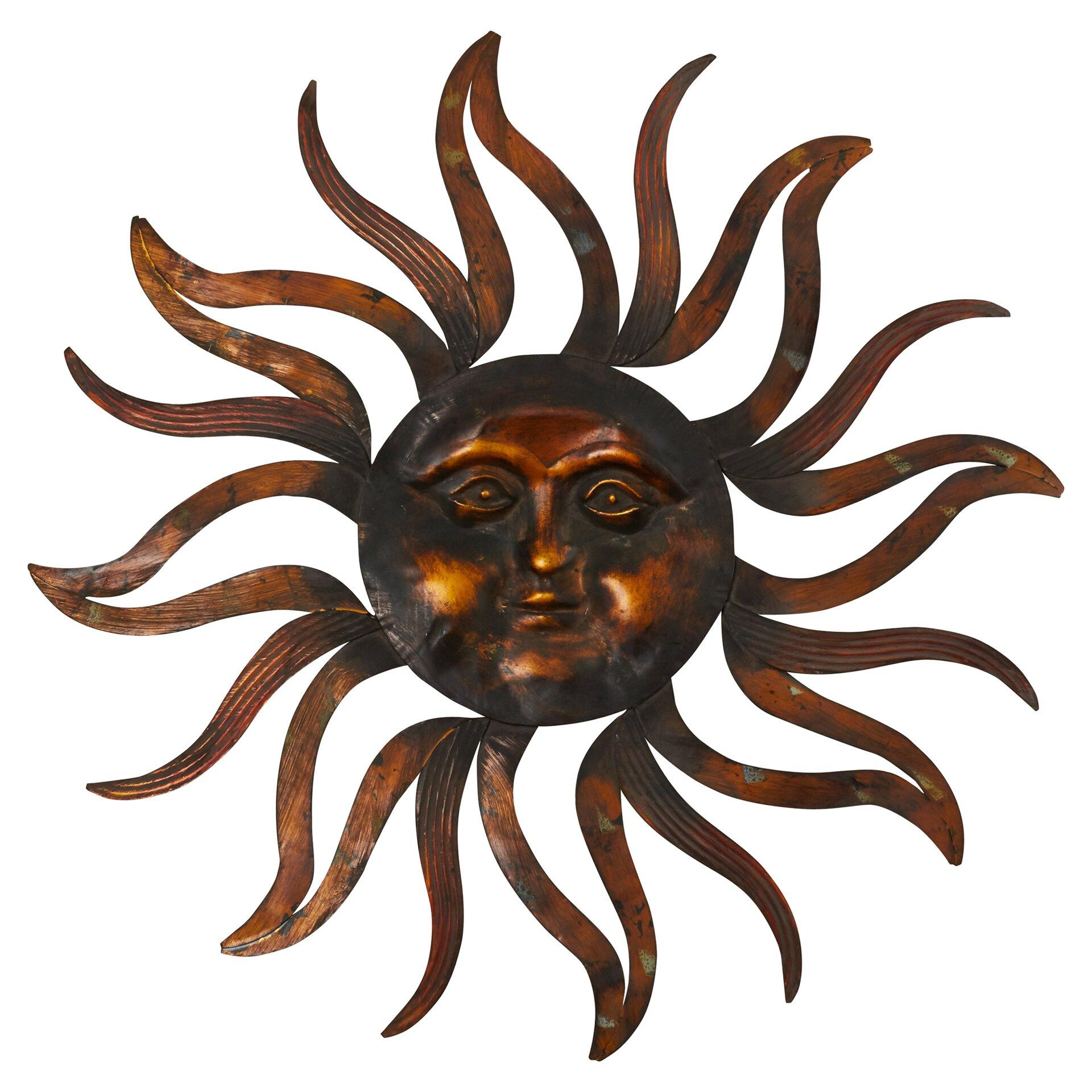 Bungalow rose metal sun wall d cor reviews wayfair for Sun wall art