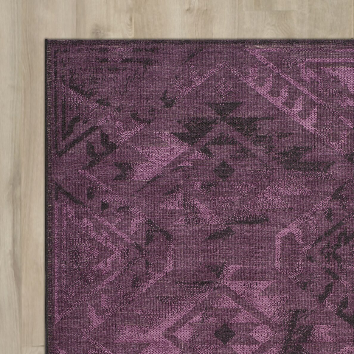 Purple Rug: Bungalow Rose Sanaoubar Black/Purple Area Rug