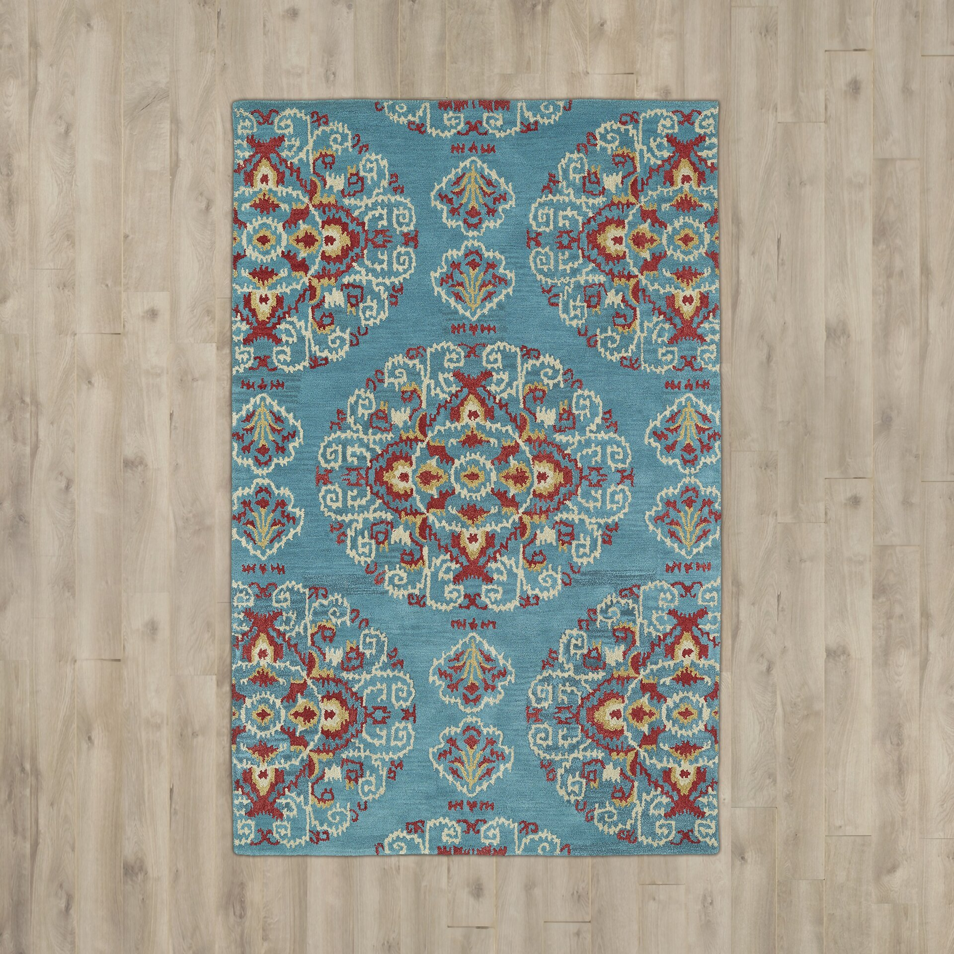 Bungalow Rose Hocca Hand-Tufted Teal Area Rug