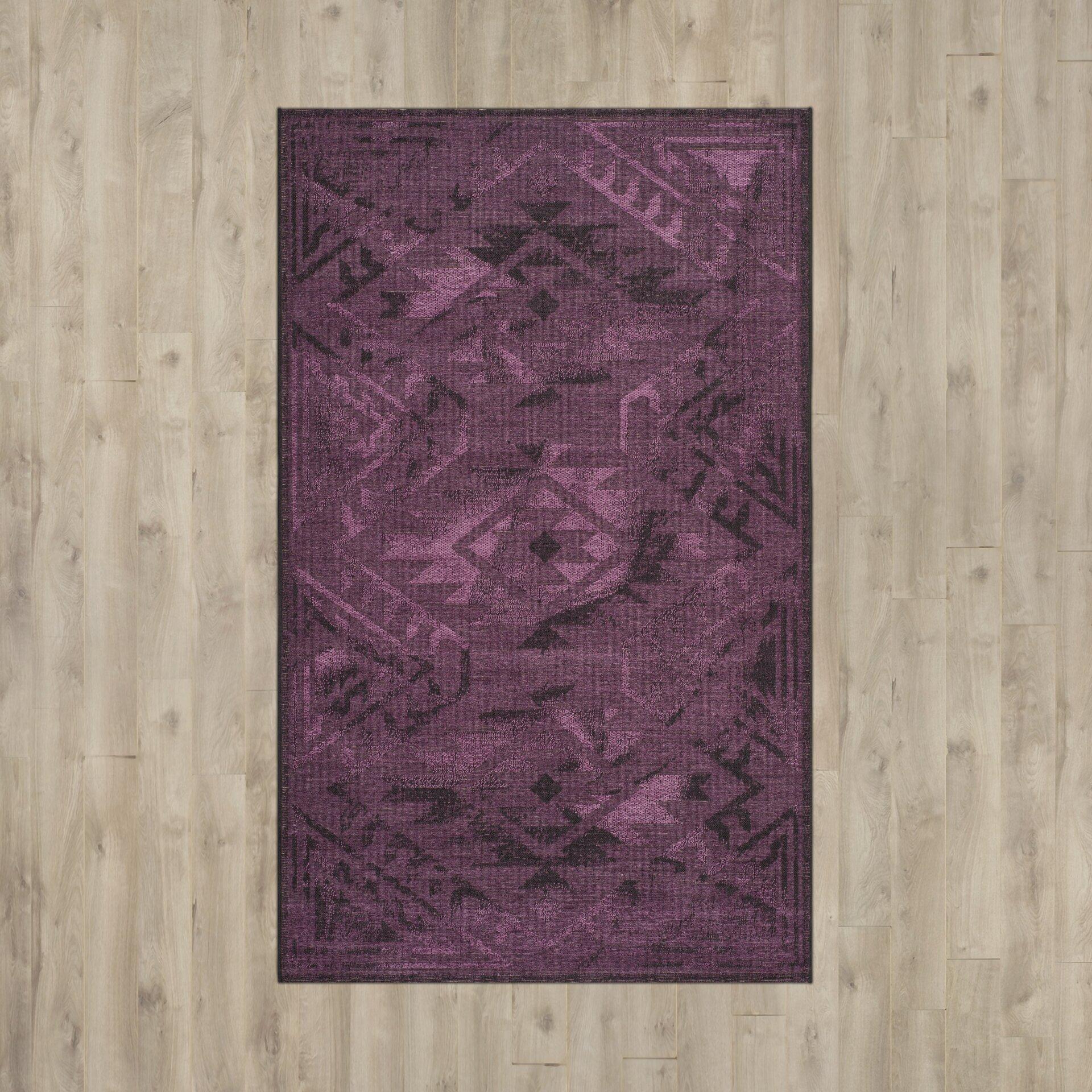 Dark Purple Rugs: Bungalow Rose Sanaoubar Black/Purple Area Rug