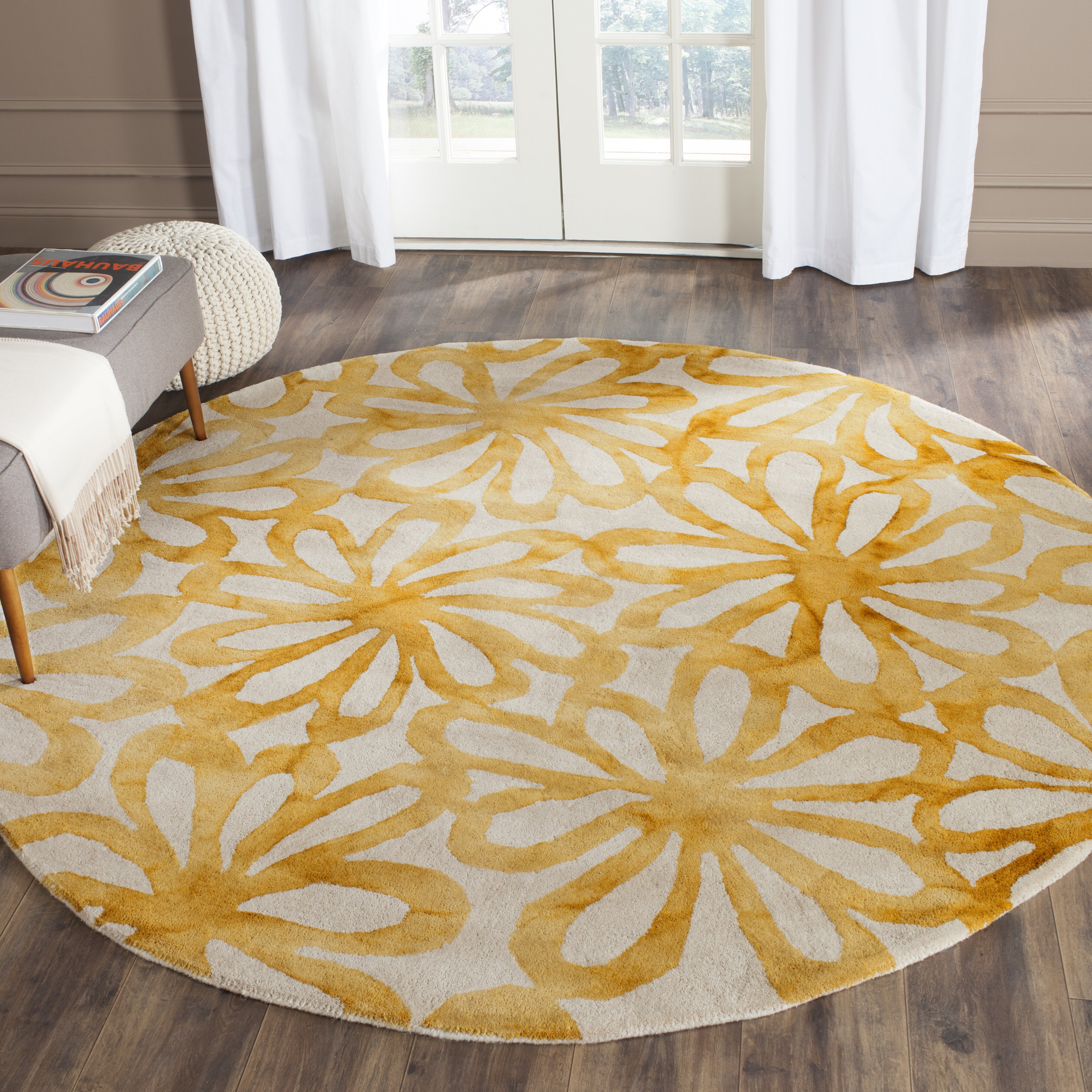 Dog Eating Wool Rug: Bungalow Rose Hand-Tufted Beige & Gold Area Rug & Reviews