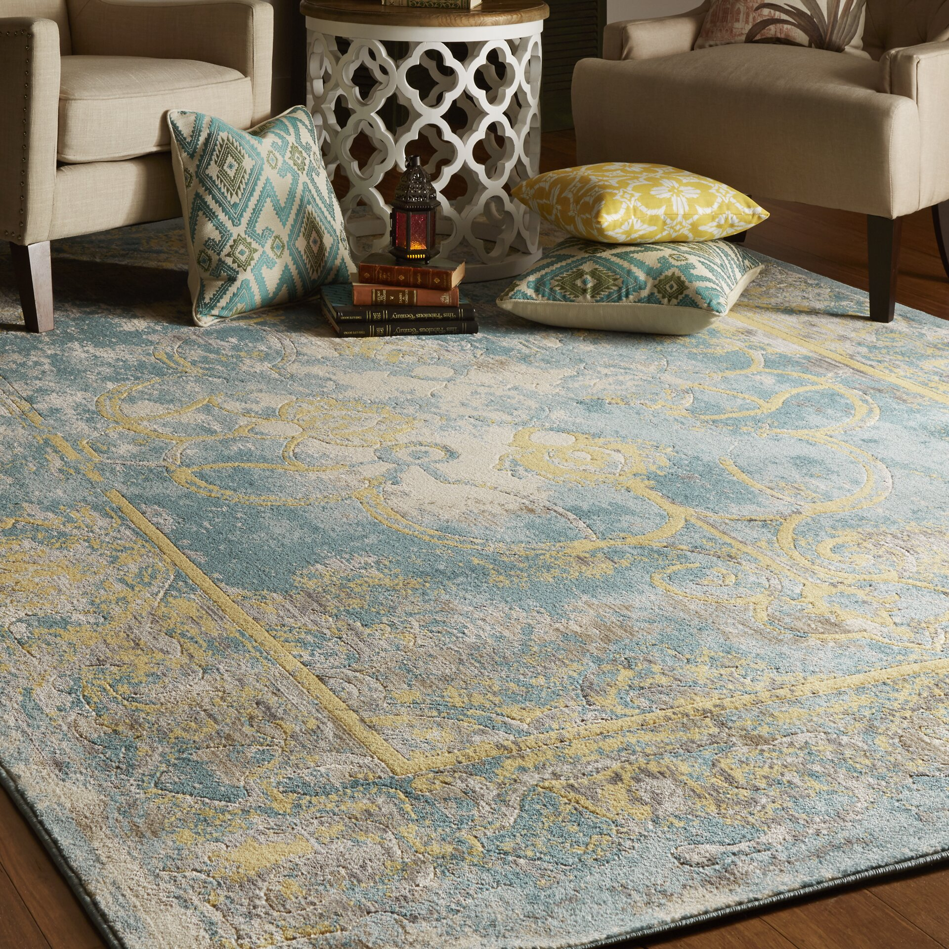 Bungalow Rose Saleya Turquoise Area Rug Reviews