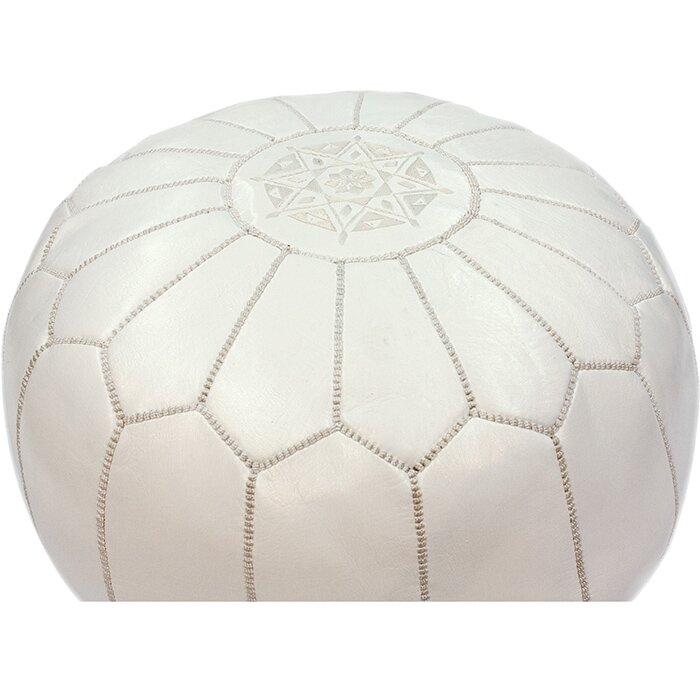 bungalow rose soukaina pouf ottoman in white wayfair. Black Bedroom Furniture Sets. Home Design Ideas