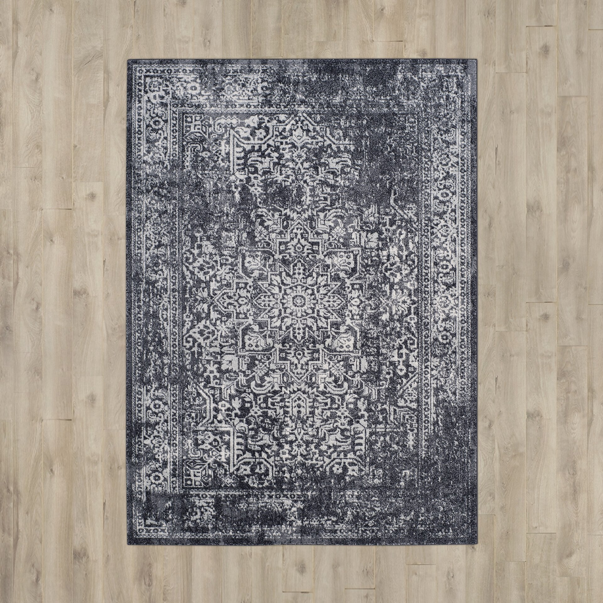 bungalow rose farino black grey area rug reviews wayfair. Black Bedroom Furniture Sets. Home Design Ideas