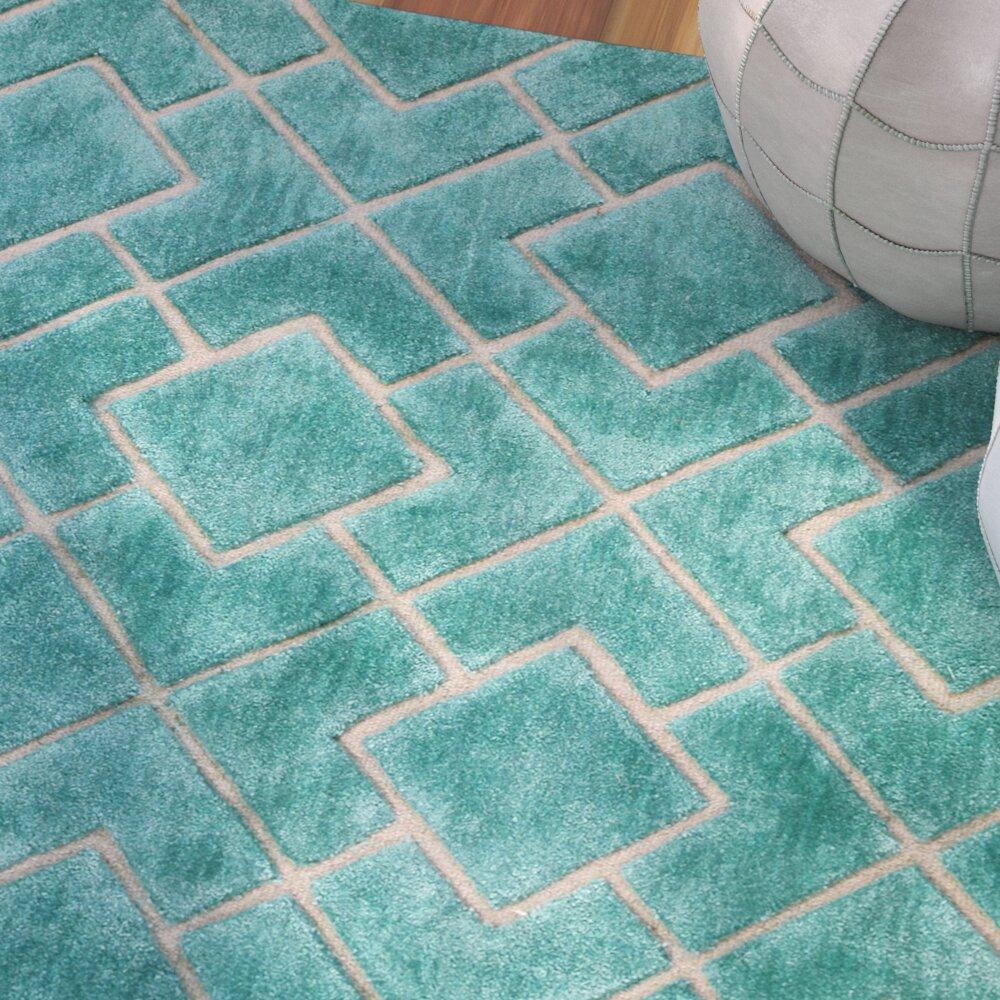 Bungalow rose karolinka hand tufted royal turquoise area for Turquoise area rug