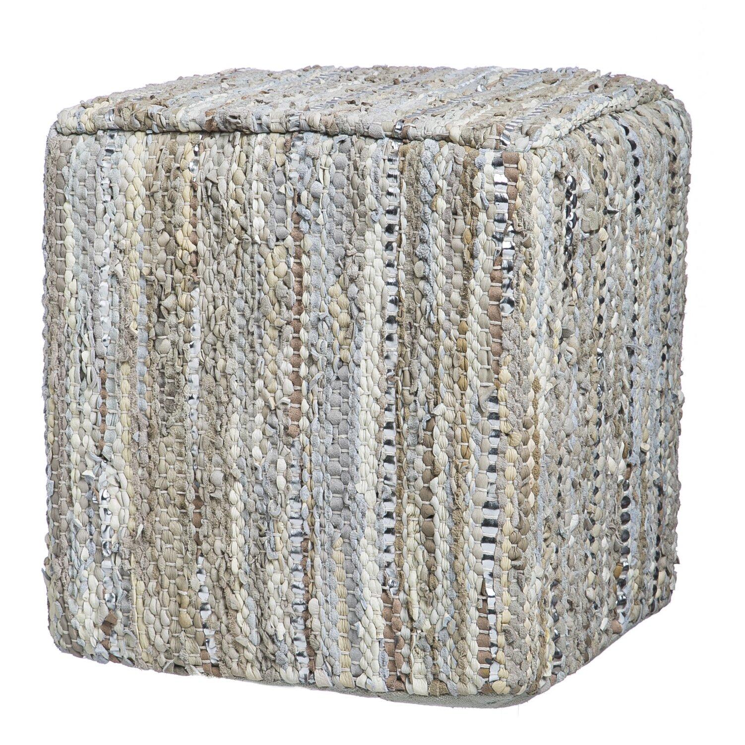 bungalow rose raveena leather pouf reviews wayfair. Black Bedroom Furniture Sets. Home Design Ideas