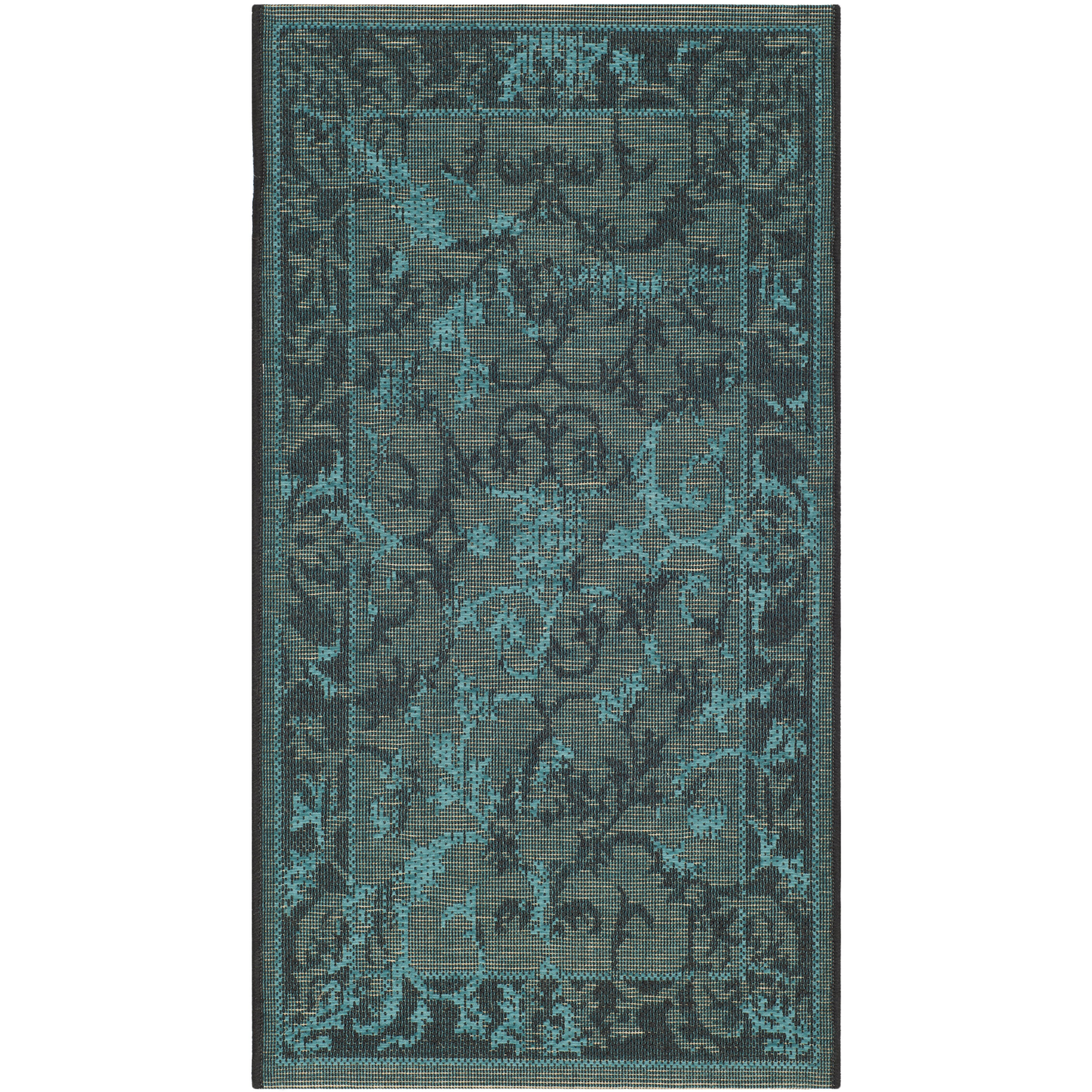 Bungalow Rose Saleya Turquoise Area Rug Reviews: Bungalow Rose Port Laguerre Black And Turquoise Area Rug