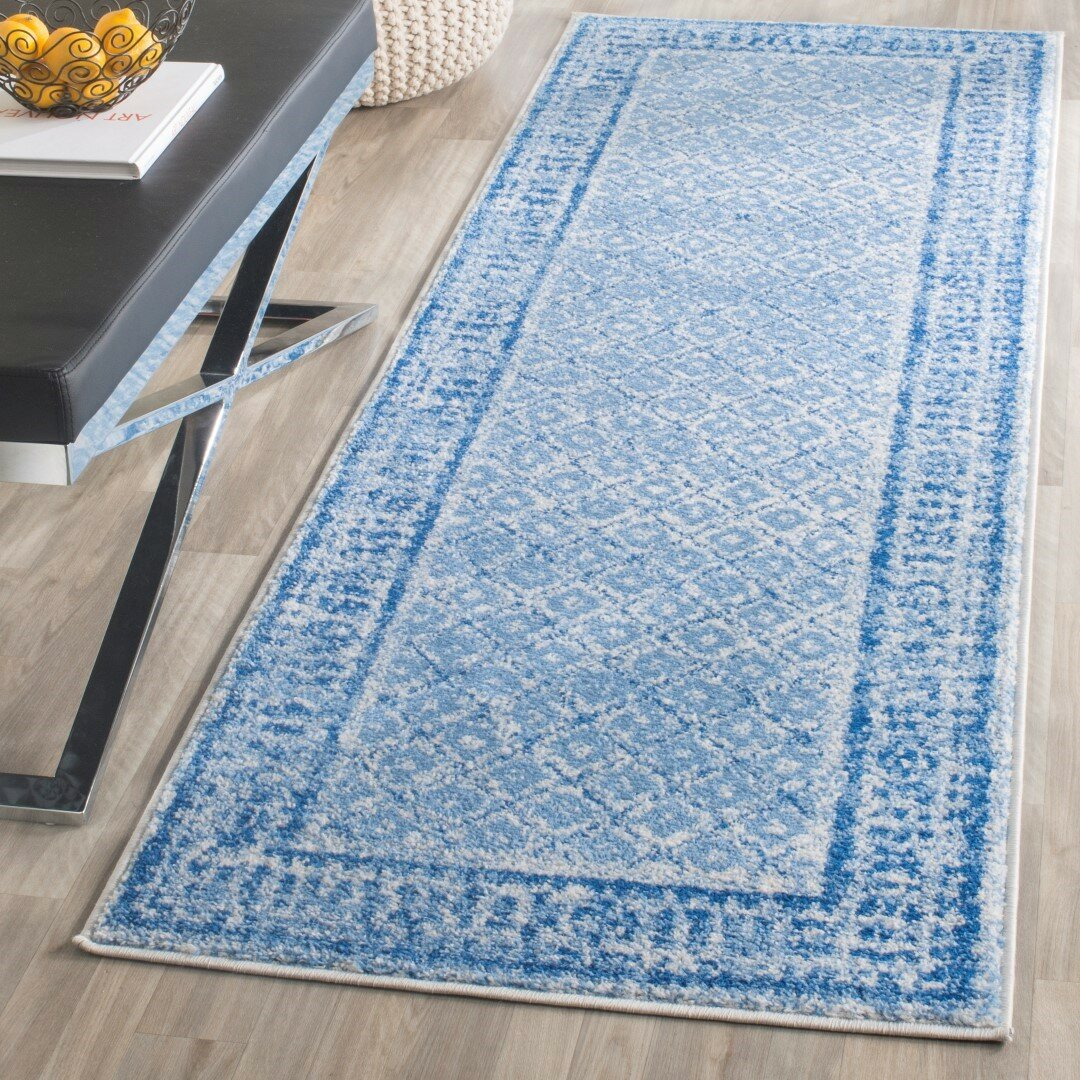 blue and silver rugs