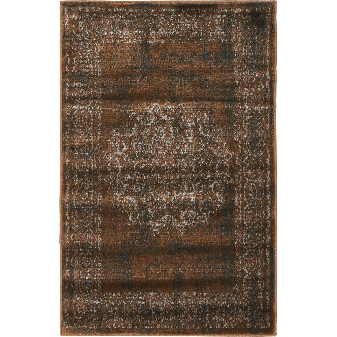 Bungalow rose yareli chocolate brown black area rug reviews wayfair for Chocolate brown bathroom rugs