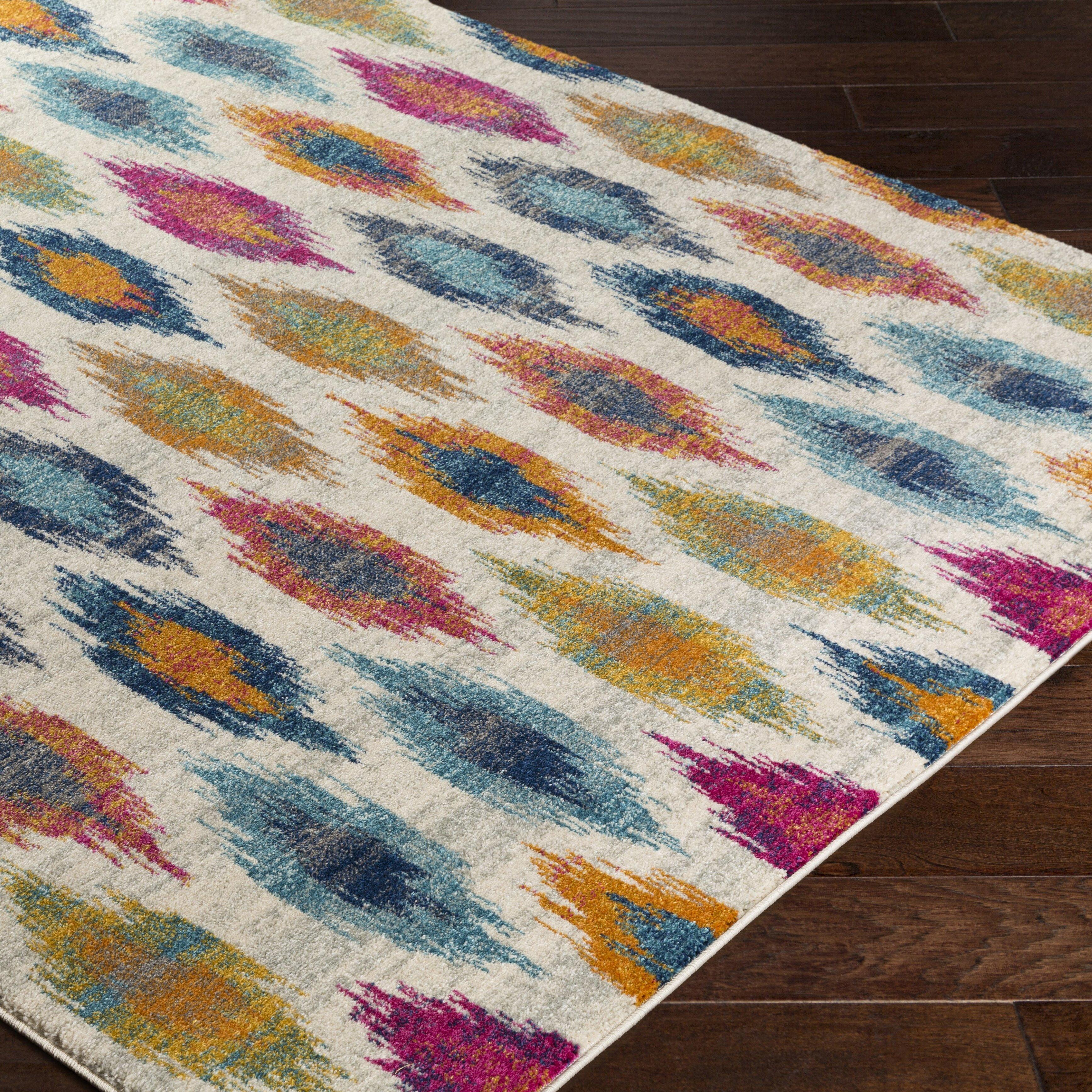 bungalow rose youcef blue pink area rug reviews wayfair. Black Bedroom Furniture Sets. Home Design Ideas