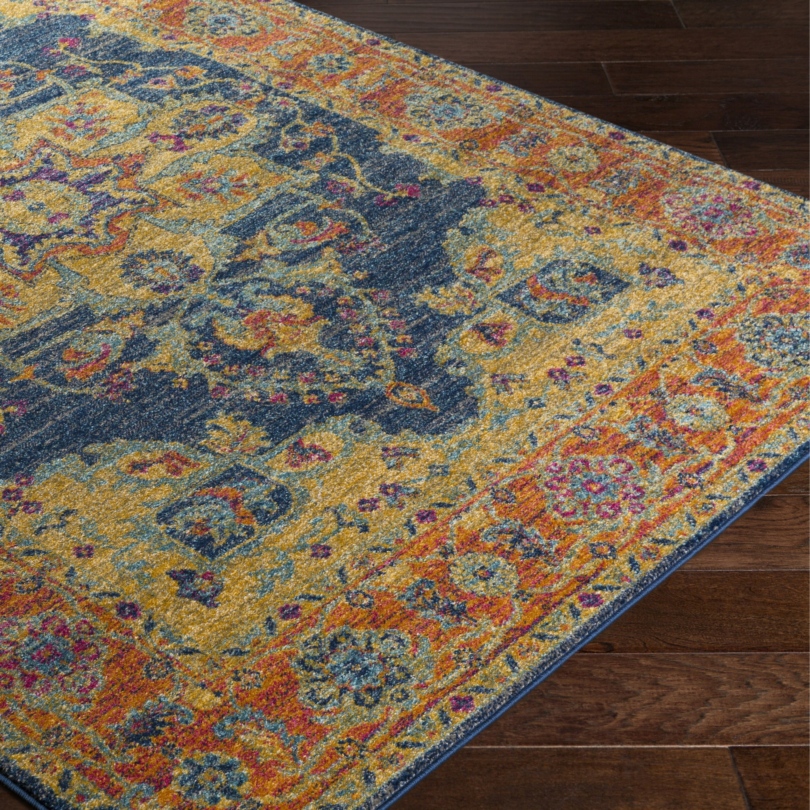 bungalow rose andover blue orange area rug reviews wayfair. Black Bedroom Furniture Sets. Home Design Ideas