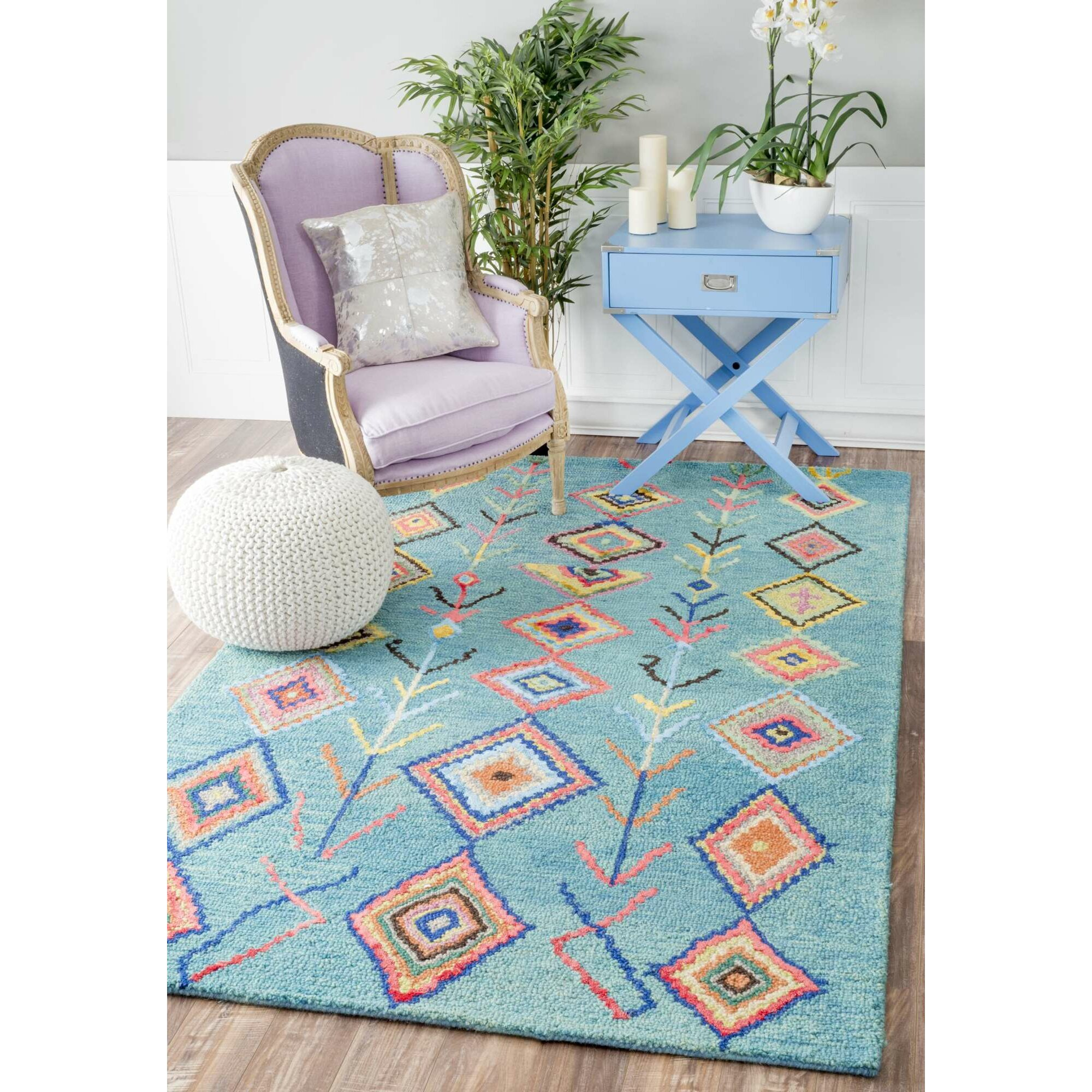 Bungalow Rose Leif Hand-Tufted Turquoise Area Rug