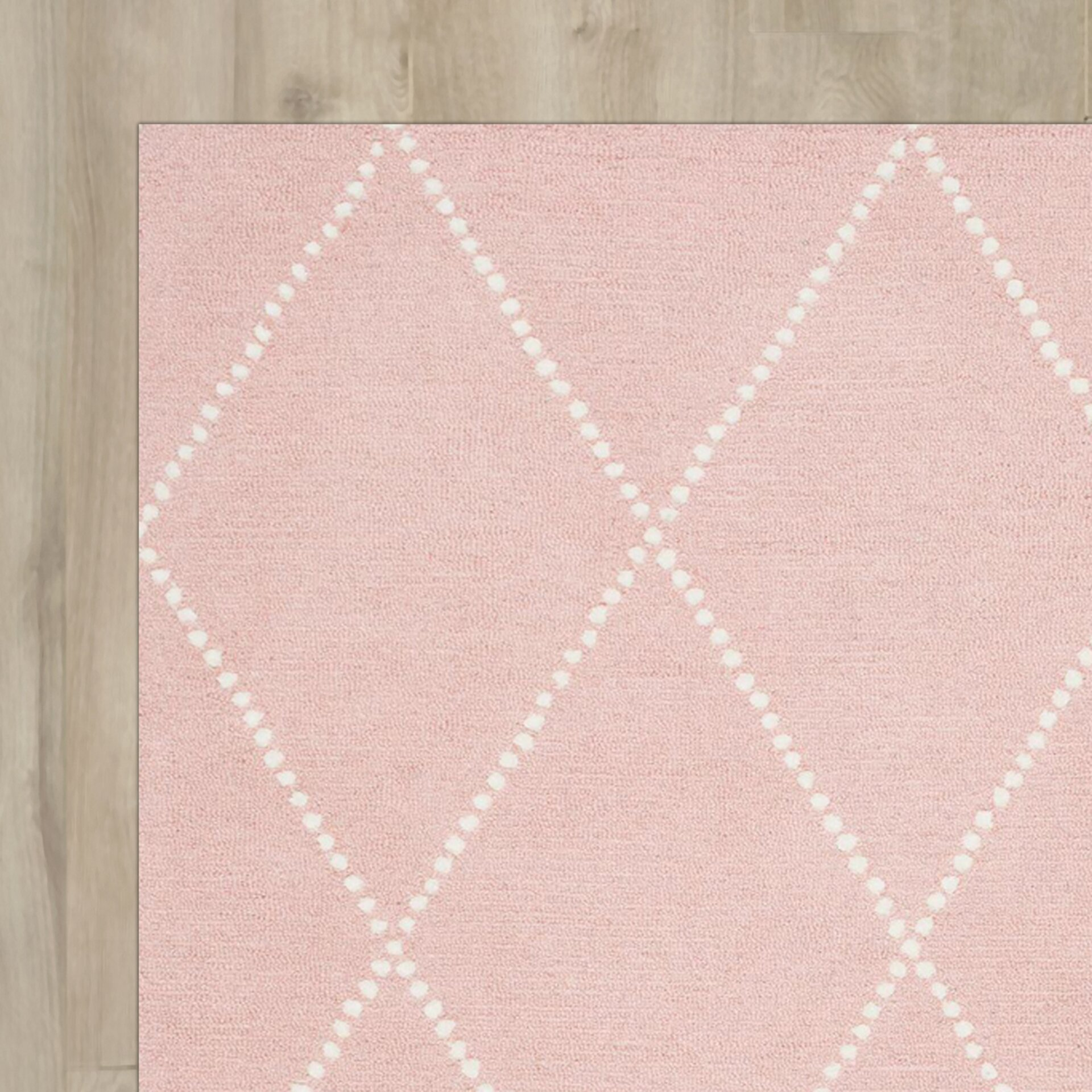 Viv Rae Nat Diamond Trellis Hand Tufted Baby Pink Area