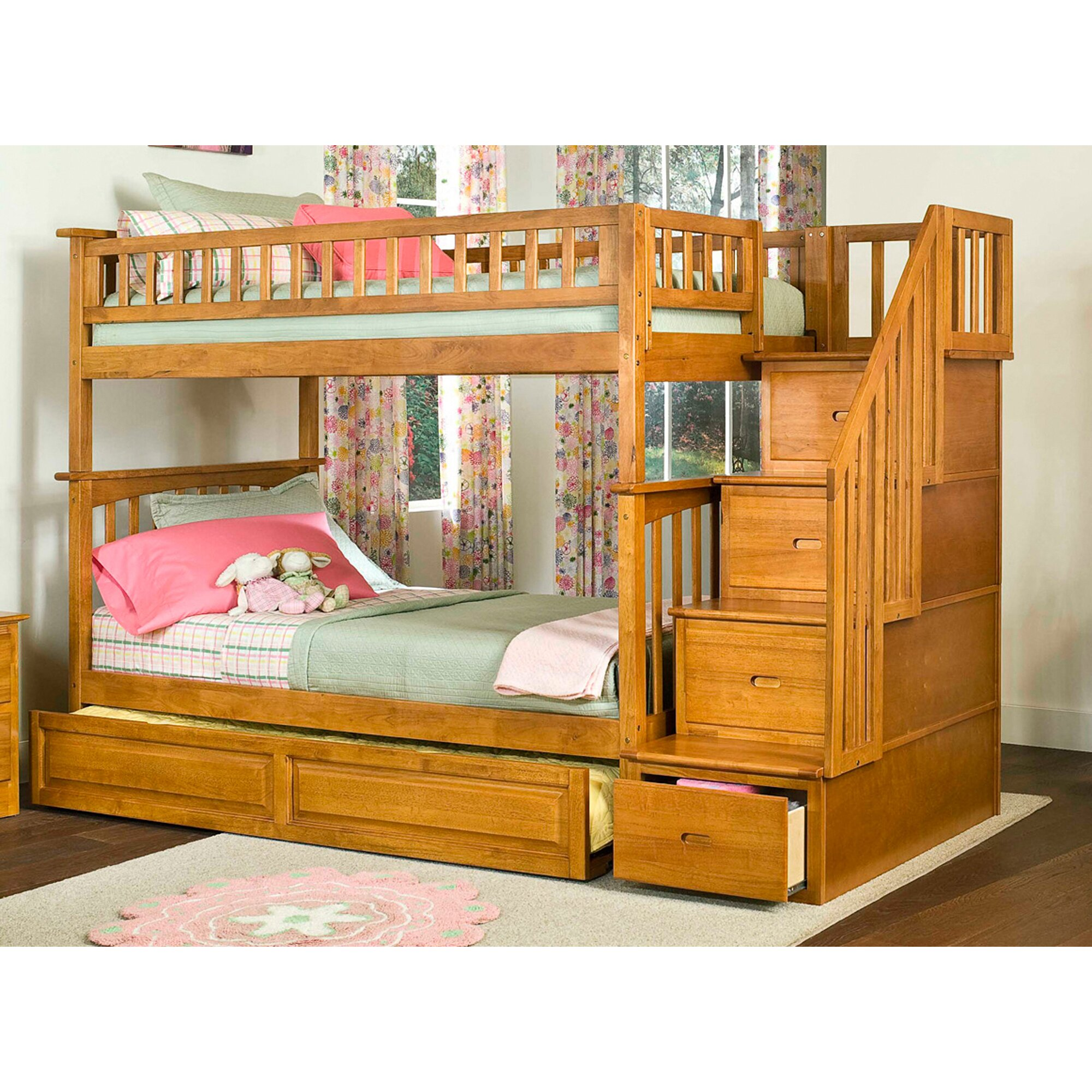 viv rae henry staircase bunk bed with raised panel trundle wayfair. Black Bedroom Furniture Sets. Home Design Ideas