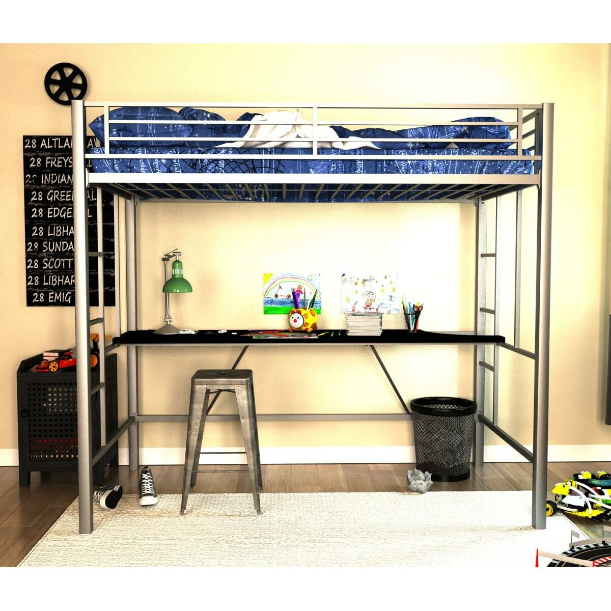 viv rae myrtle twin loft bed with desk reviews wayfair. Black Bedroom Furniture Sets. Home Design Ideas