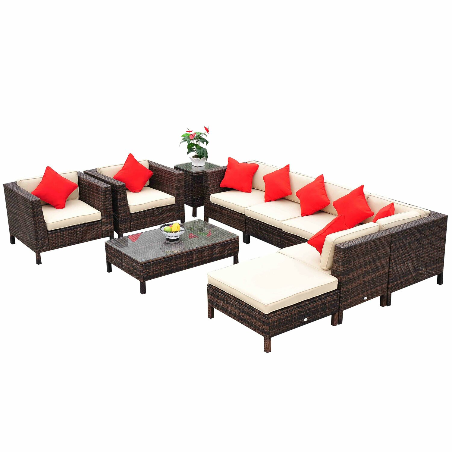 outsunny 9 piece lounge seating group with cushions reviews wayfair. Black Bedroom Furniture Sets. Home Design Ideas