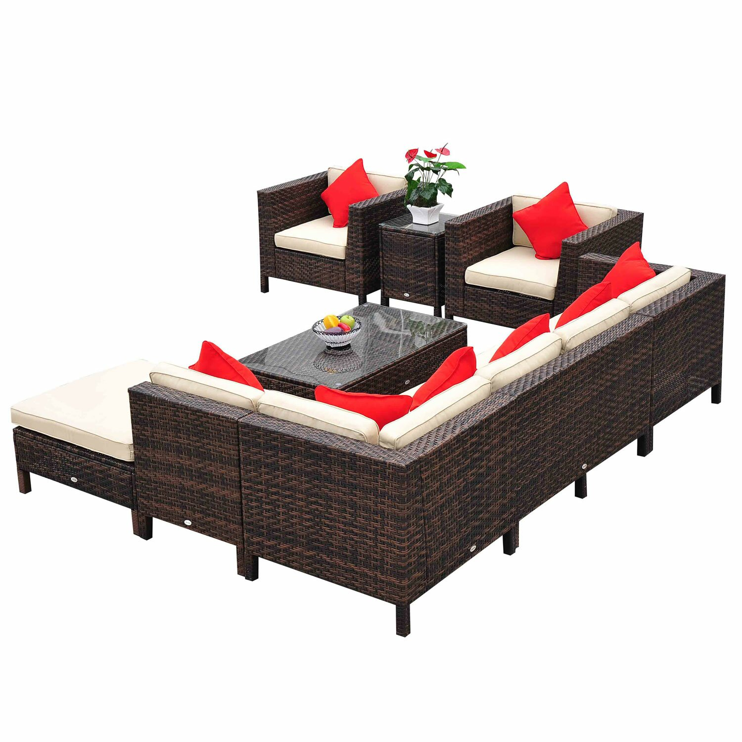 outsunny 9 piece lounge seating group with cushions. Black Bedroom Furniture Sets. Home Design Ideas