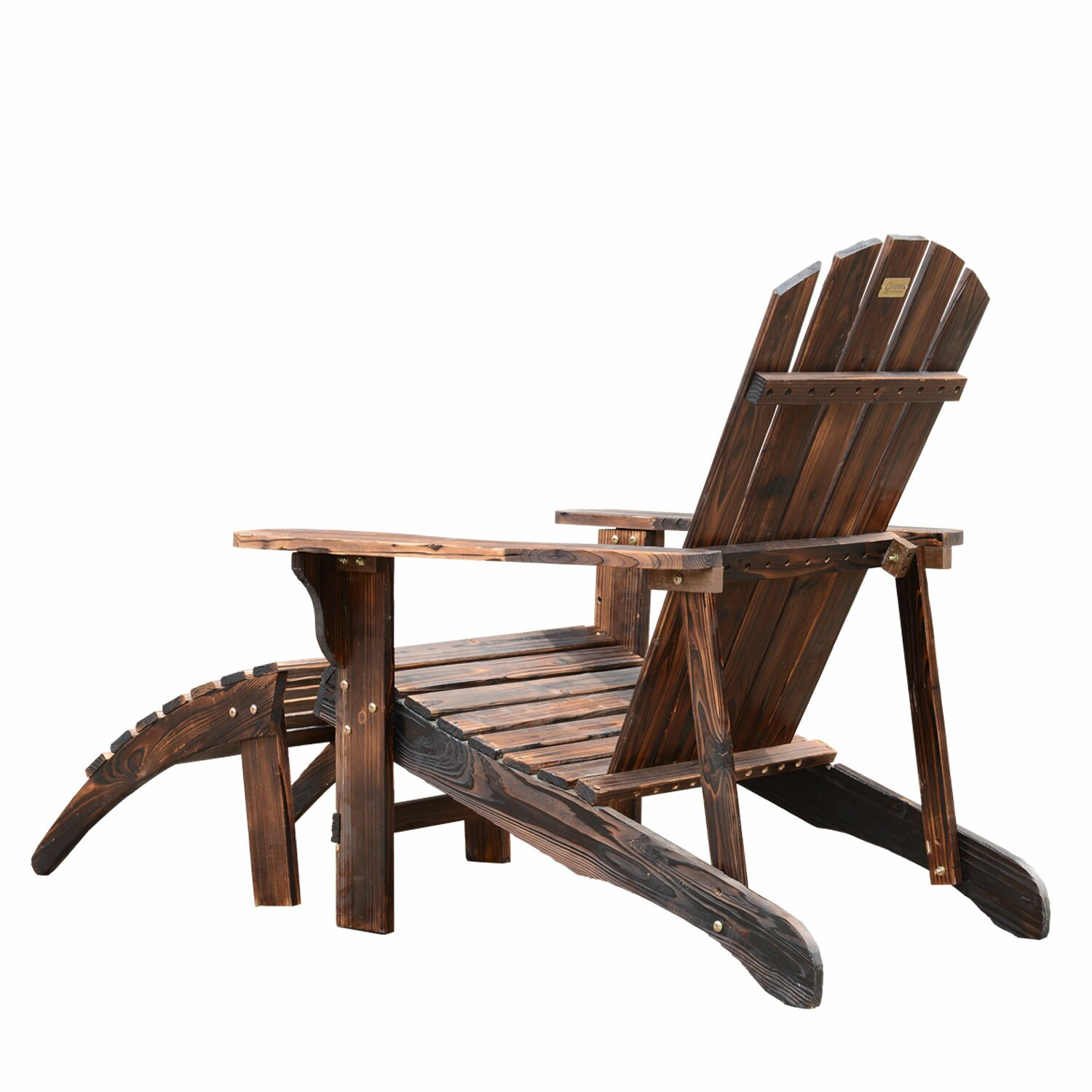 Outsunny adirondack chair with ottoman reviews wayfair for Chair with ottoman