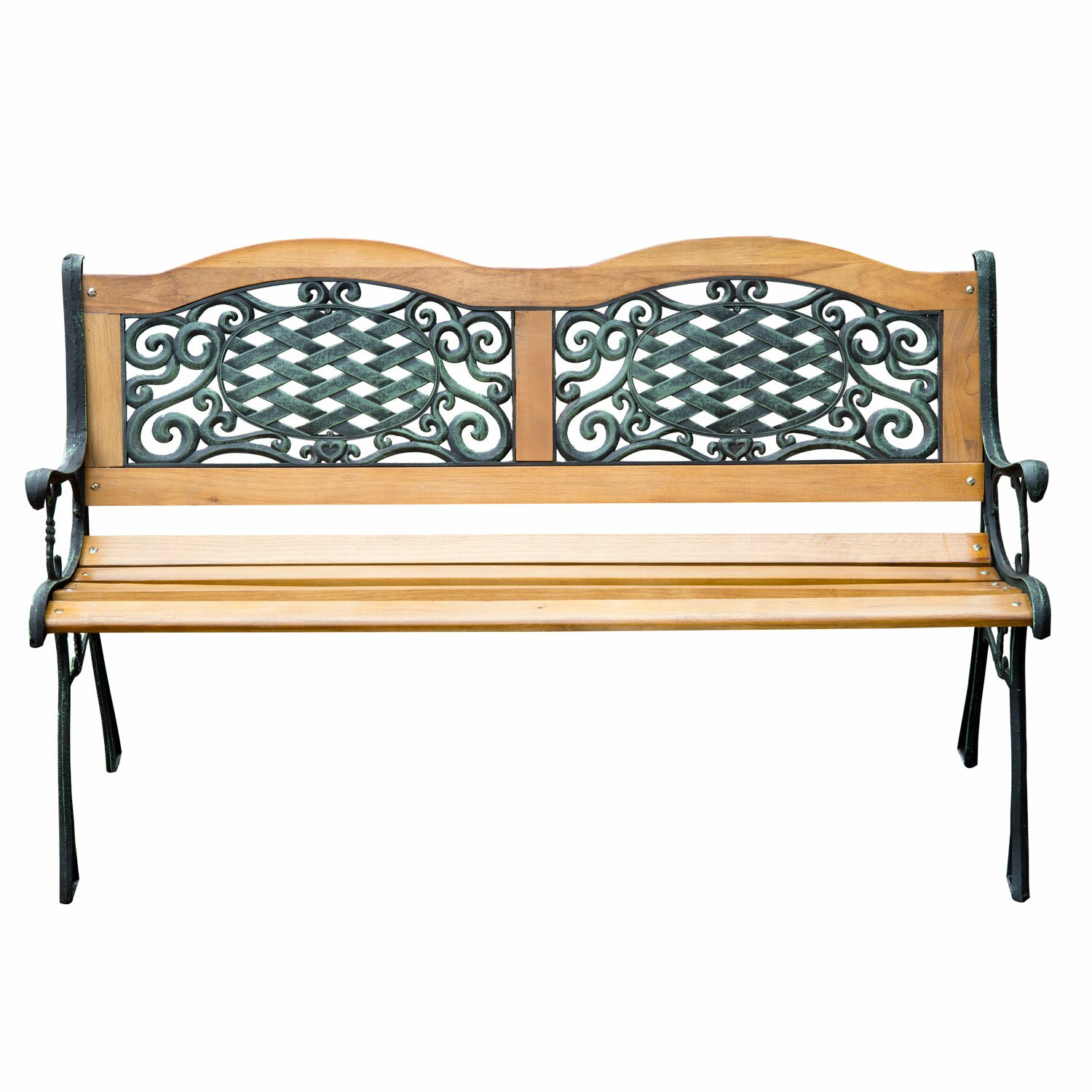 Outsunny outdoor patio park bench reviews wayfair for Outdoor furniture benches